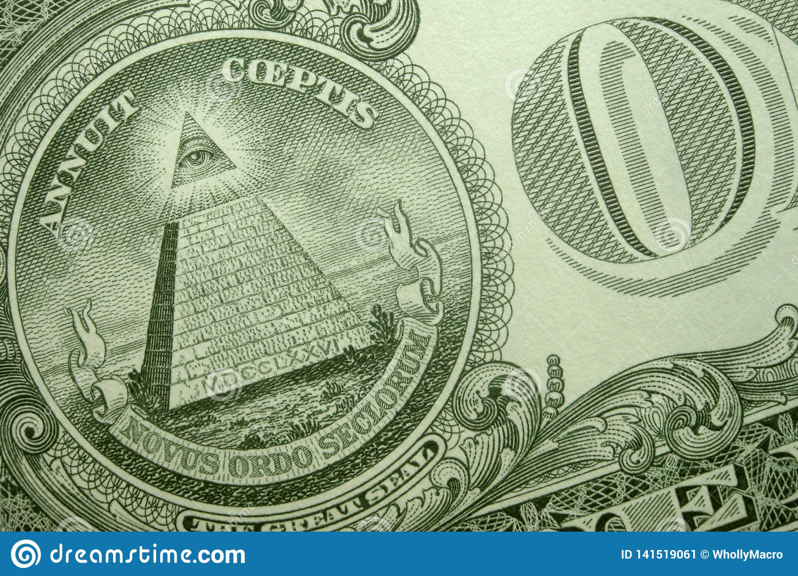 Pyramid, eye of providence, and O of ONE on back of an American single.