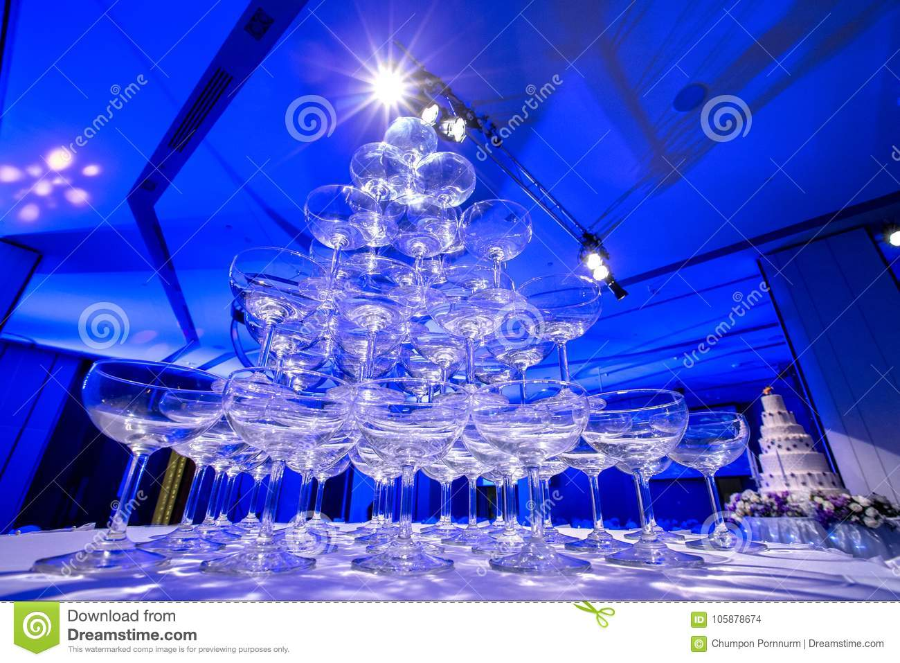 Pyramid Of Glasses Champagne On Wedding Party. Champagne Tower ...