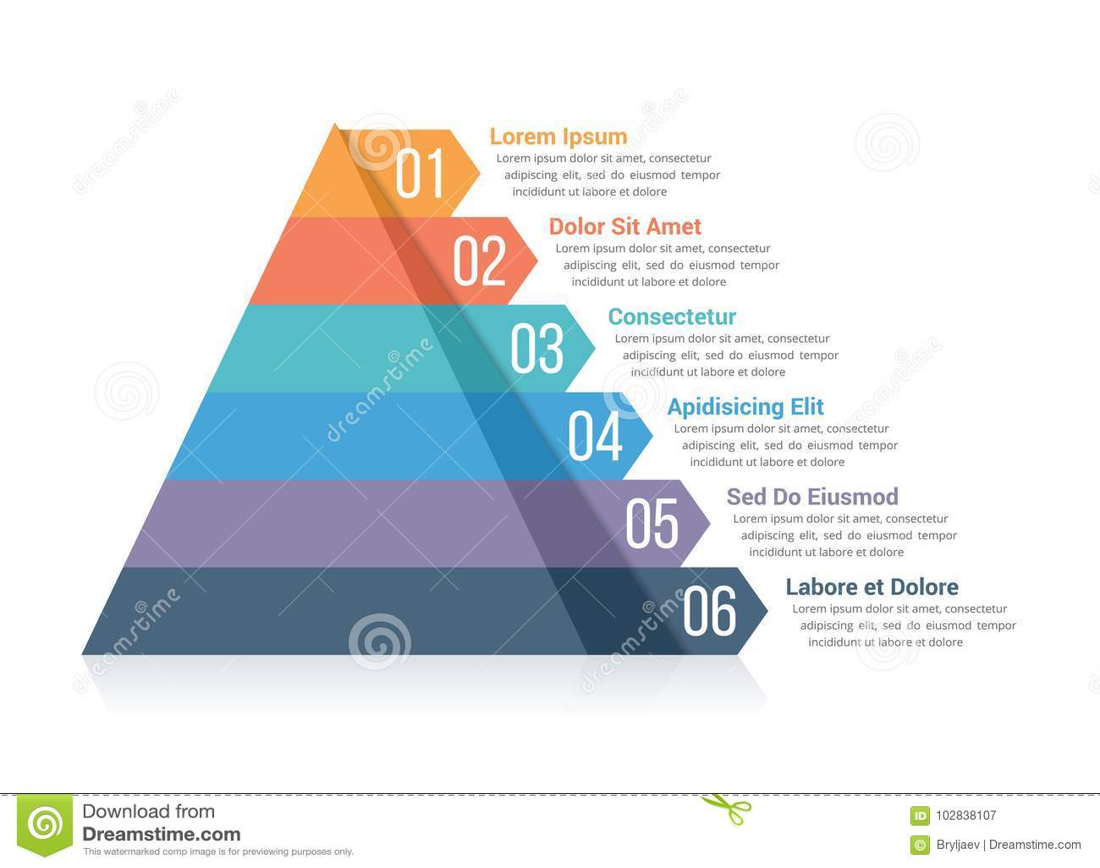 pyramid infographics stock vector illustration of segment 102838107