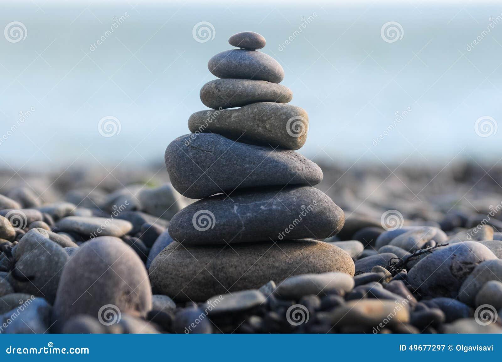 Pyramid of pebble stones