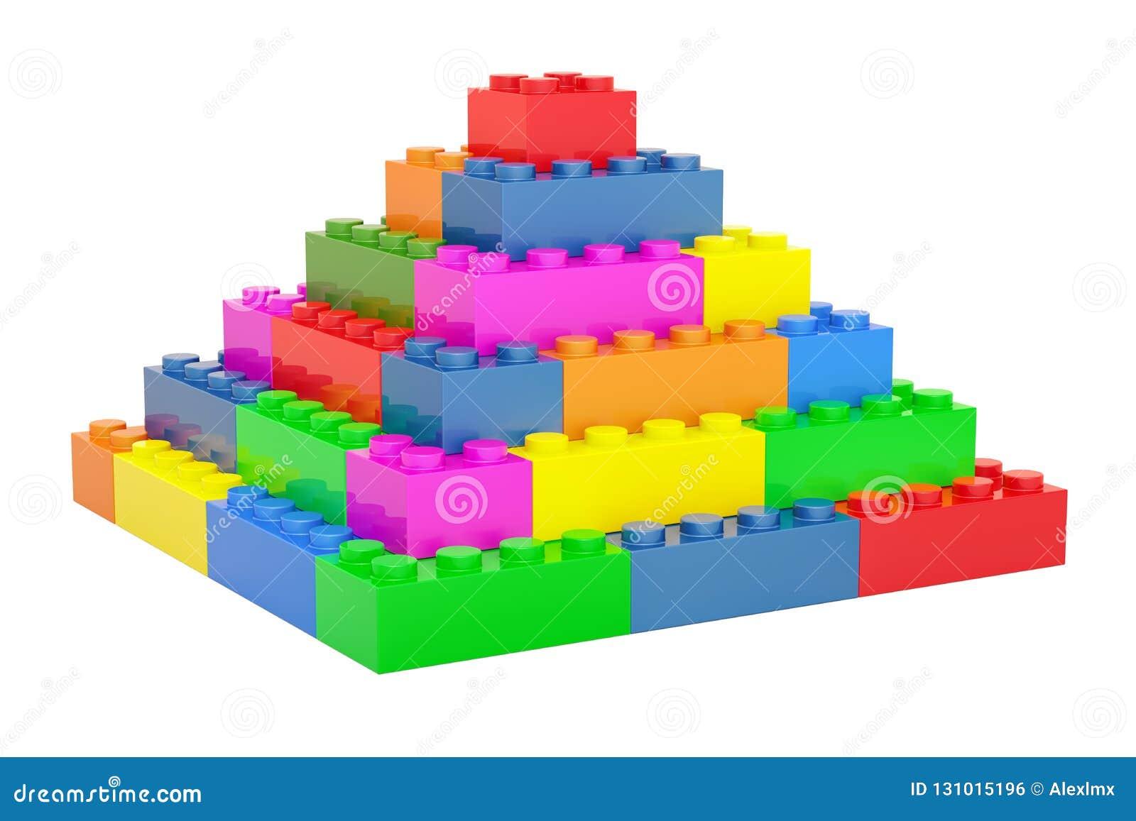 Pyramid From Plastic Building Blocks, 3D Stock Illustration