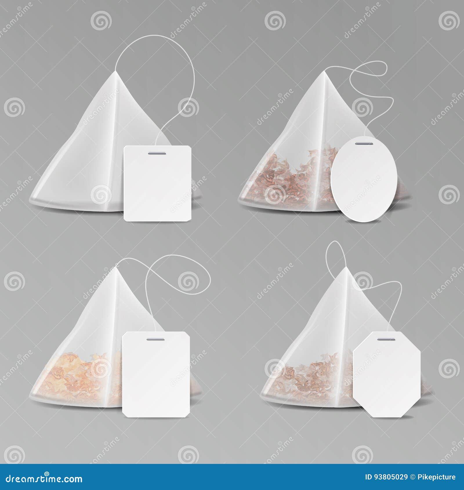 pyramid shape tea bag set mock up with empty square rectangle