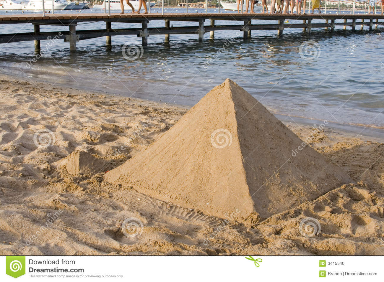 Sand castle built in the shape of a Pyramid like the magnificent ones ...