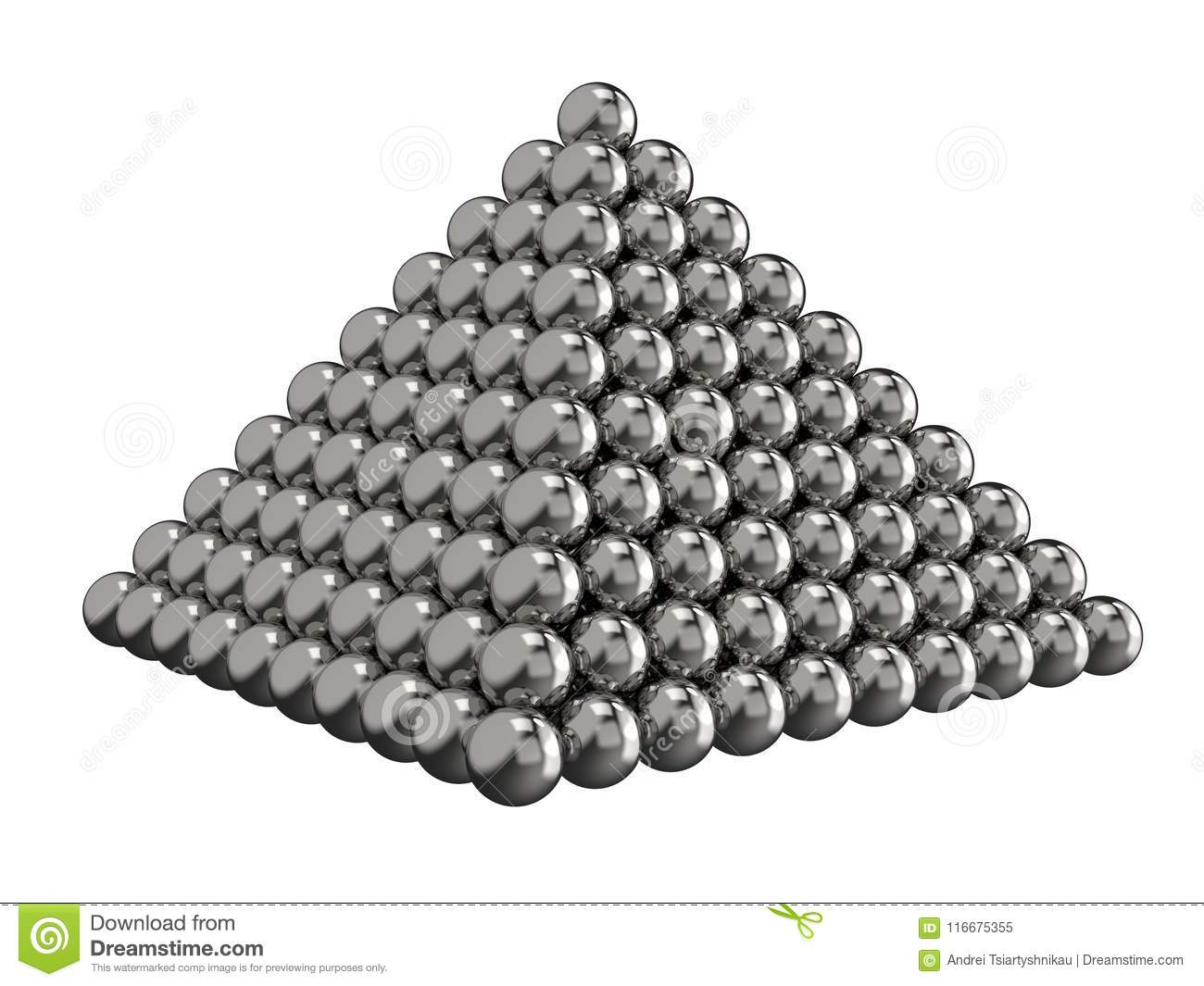 Pyramid of steel balls on a white background. Toy for children. 3D rendering.