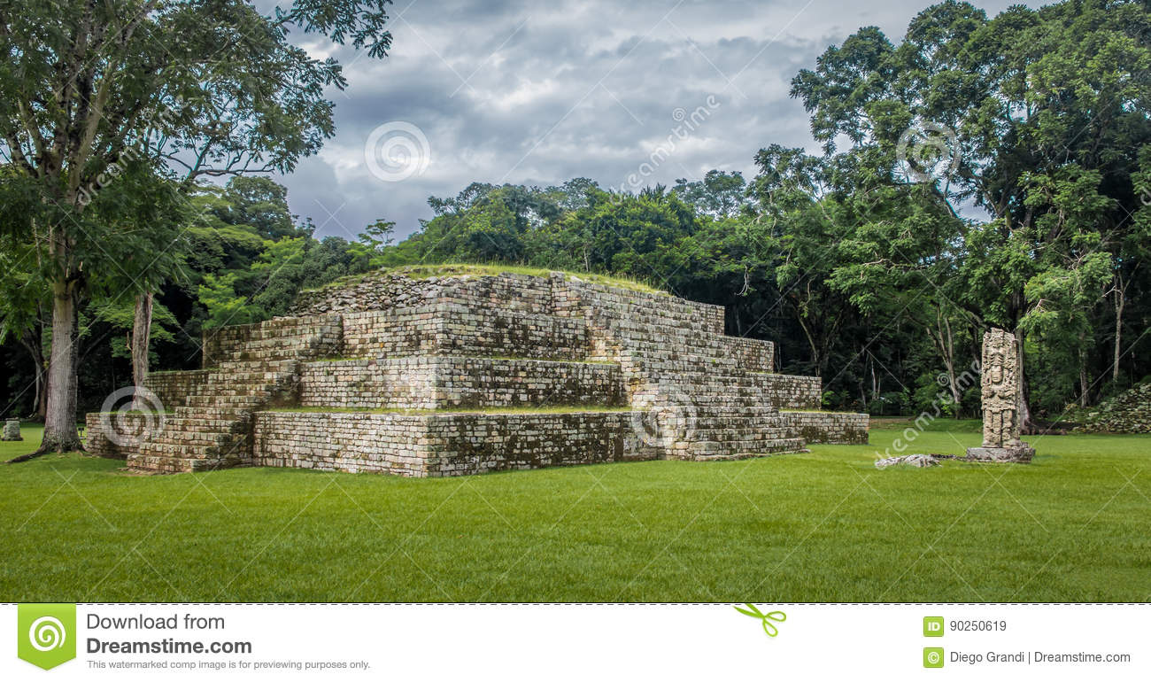 Pyramid and Stella in Great Plaza of Mayan Ruins - Copan Archaeological Site, Honduras