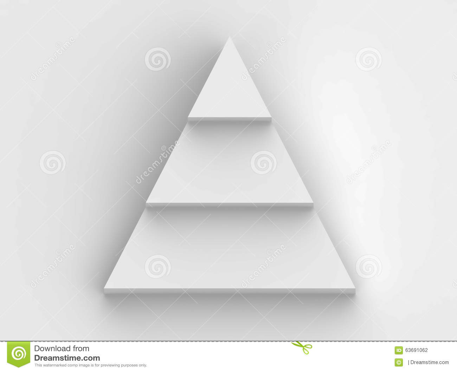 Pyramid step flowchart in white background