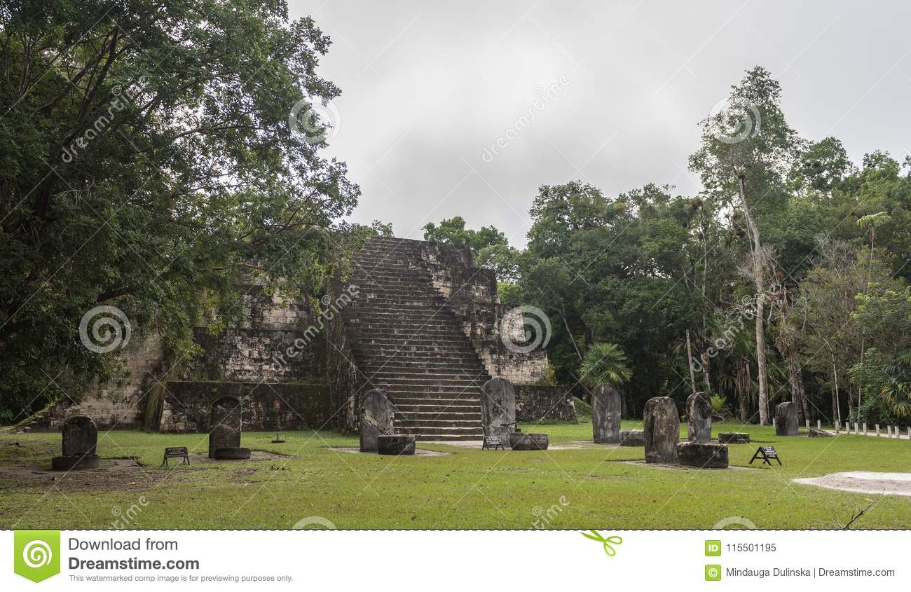 Pyramid and the Temple in Tikal Park. Sightseeing object in Guatemala with Mayan Temples and Ceremonial Ruins. Tikal is an ancient
