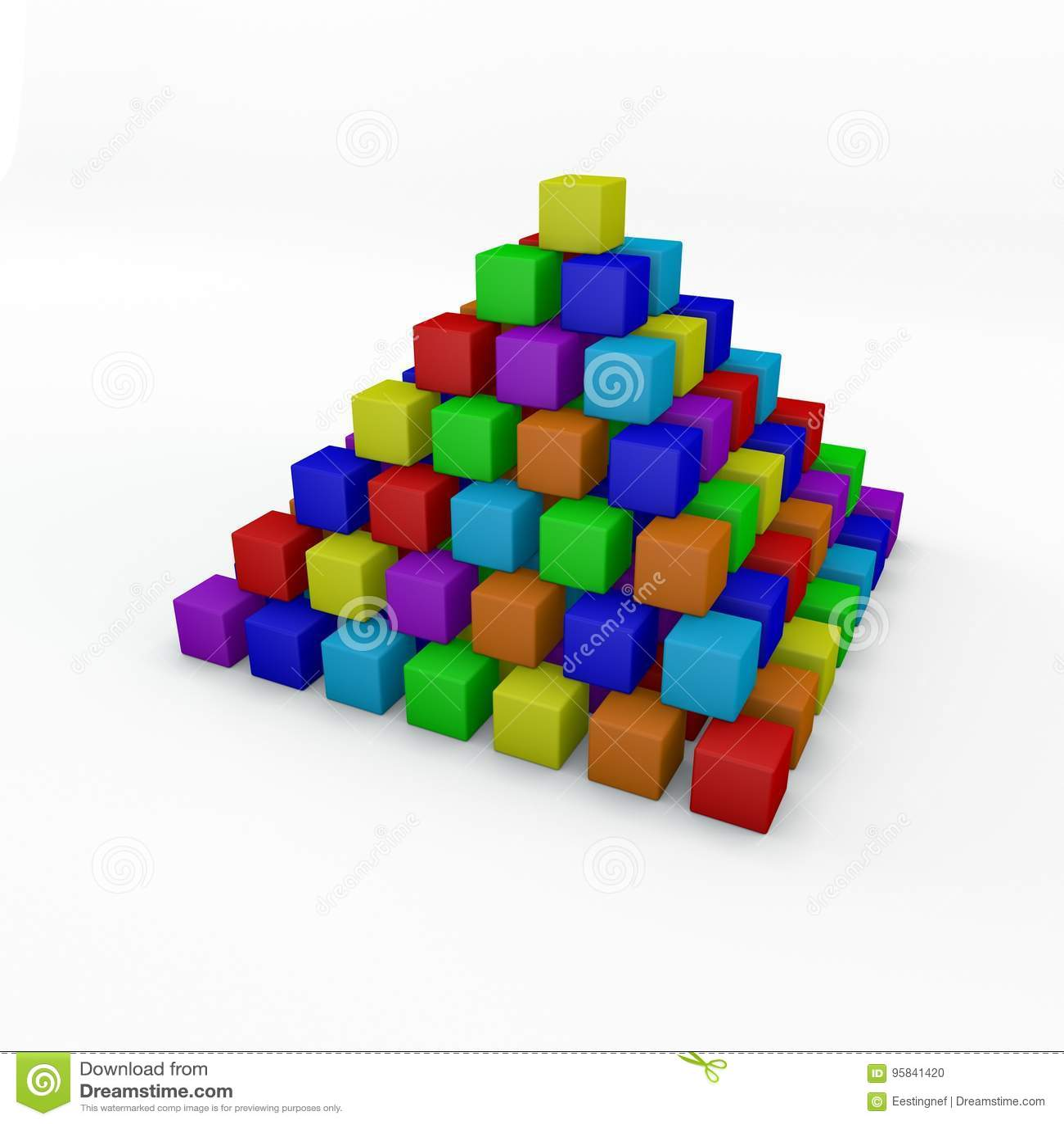 Pyramid From Toy Building Blocks  3D Rendering Illustration