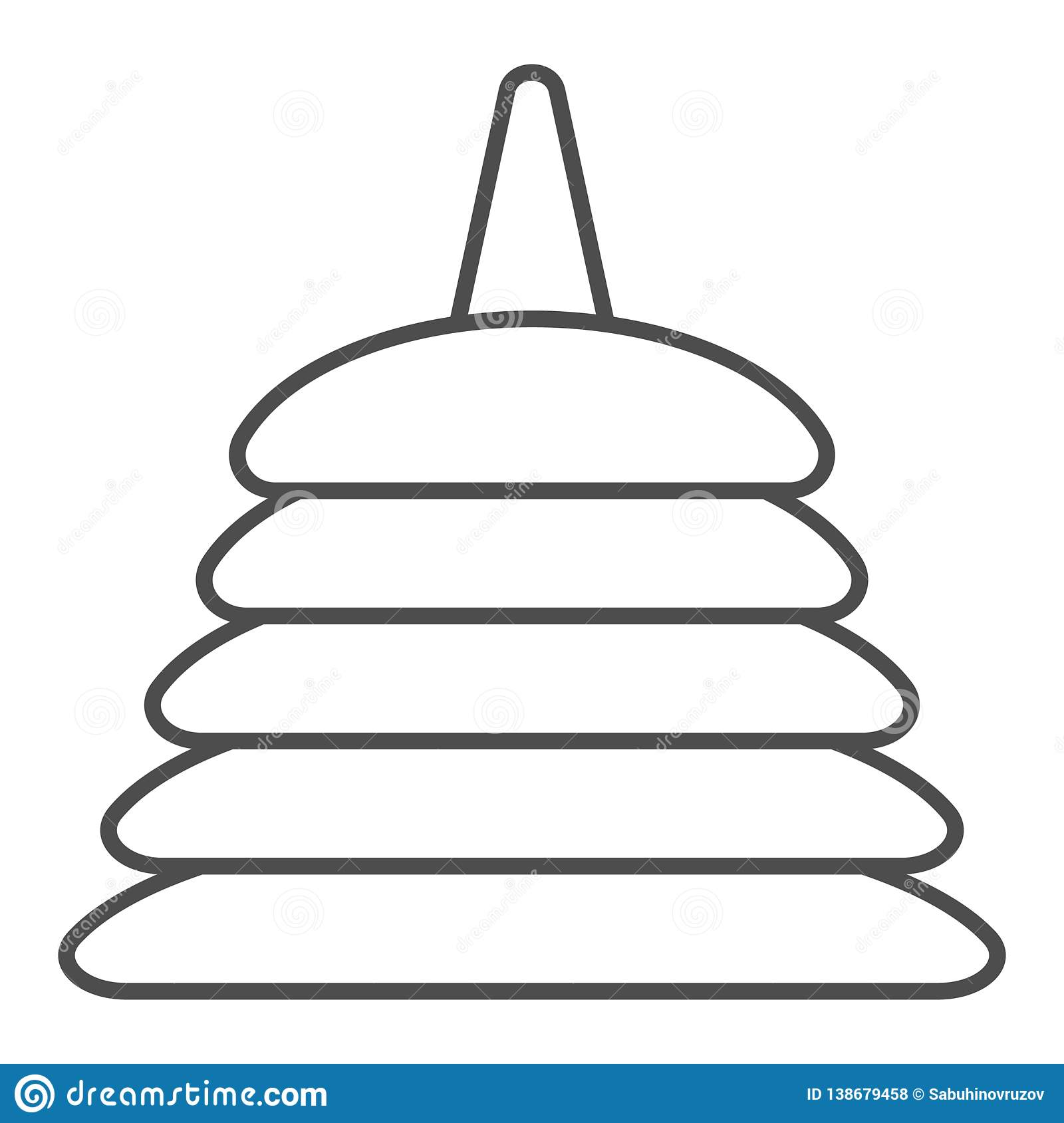 Pyramid Toy Thin Line Icon. Children Logic Toy Vector ...