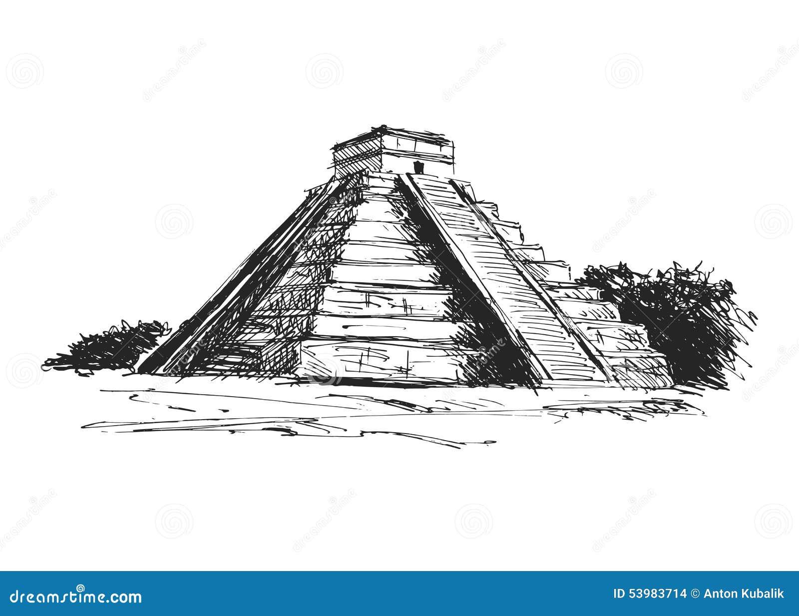 Pyramide de maya de dessin de main illustration de vecteur - Dessin de pyramide ...