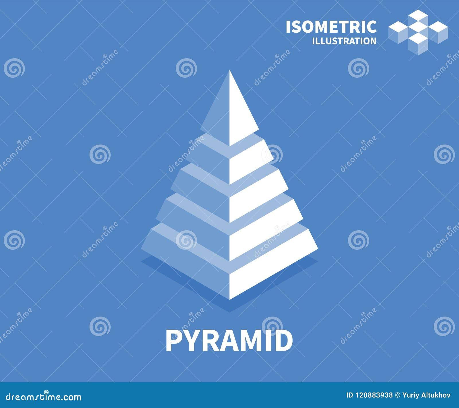 Pyramidenikone Isometrische Schablone für Webdesign in der flachen Art 3D Auch im corel abgehobenen Betrag