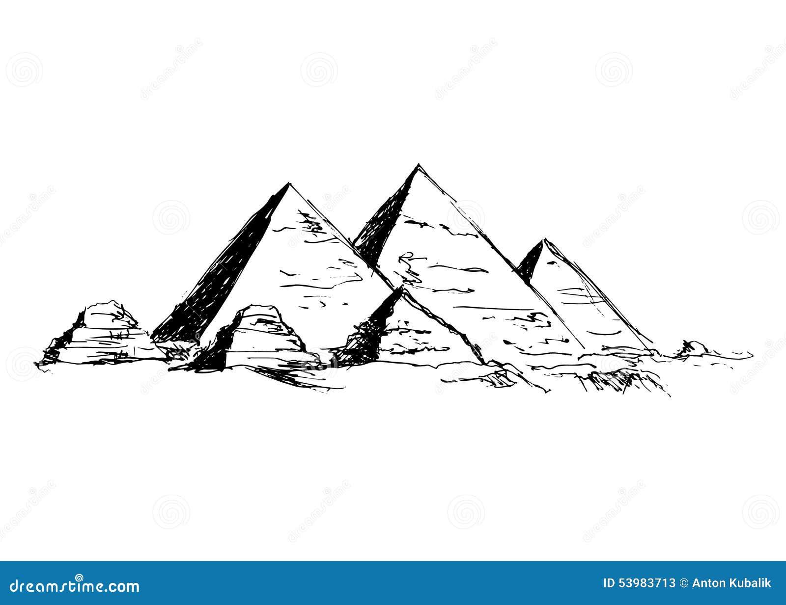 Pyramides de dessin de main illustration de vecteur - Dessin de pyramide ...