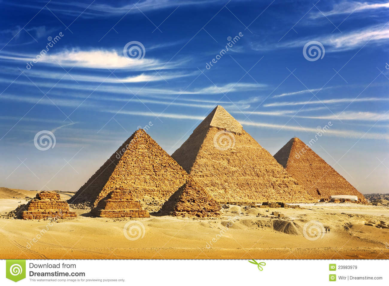 The Pyramids of Giza stock image  Image of mykerinos - 23983979