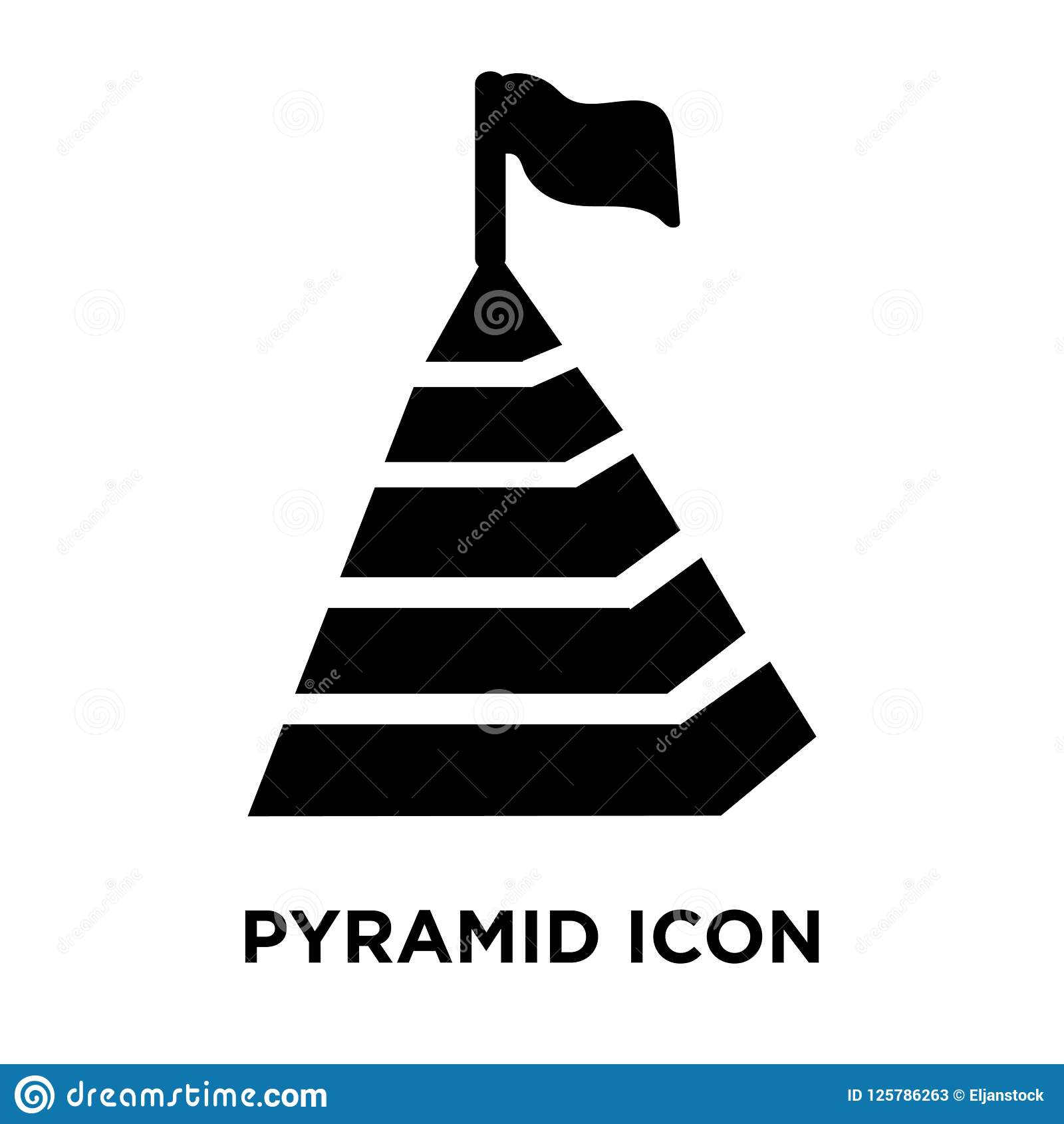 Pyramidsymbolsvektor som isoleras på vit bakgrund, logobegreppsnolla