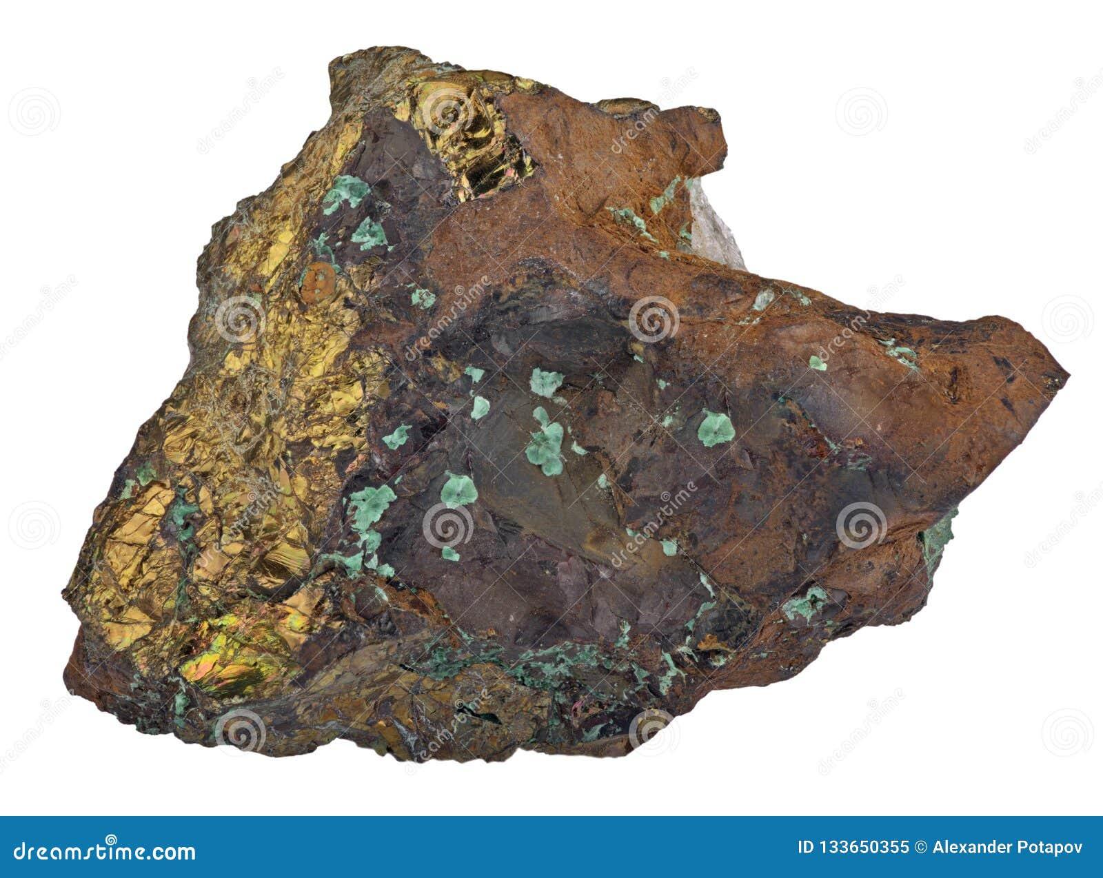 Pyrite en minerai de malachite d isolement sur le blanc