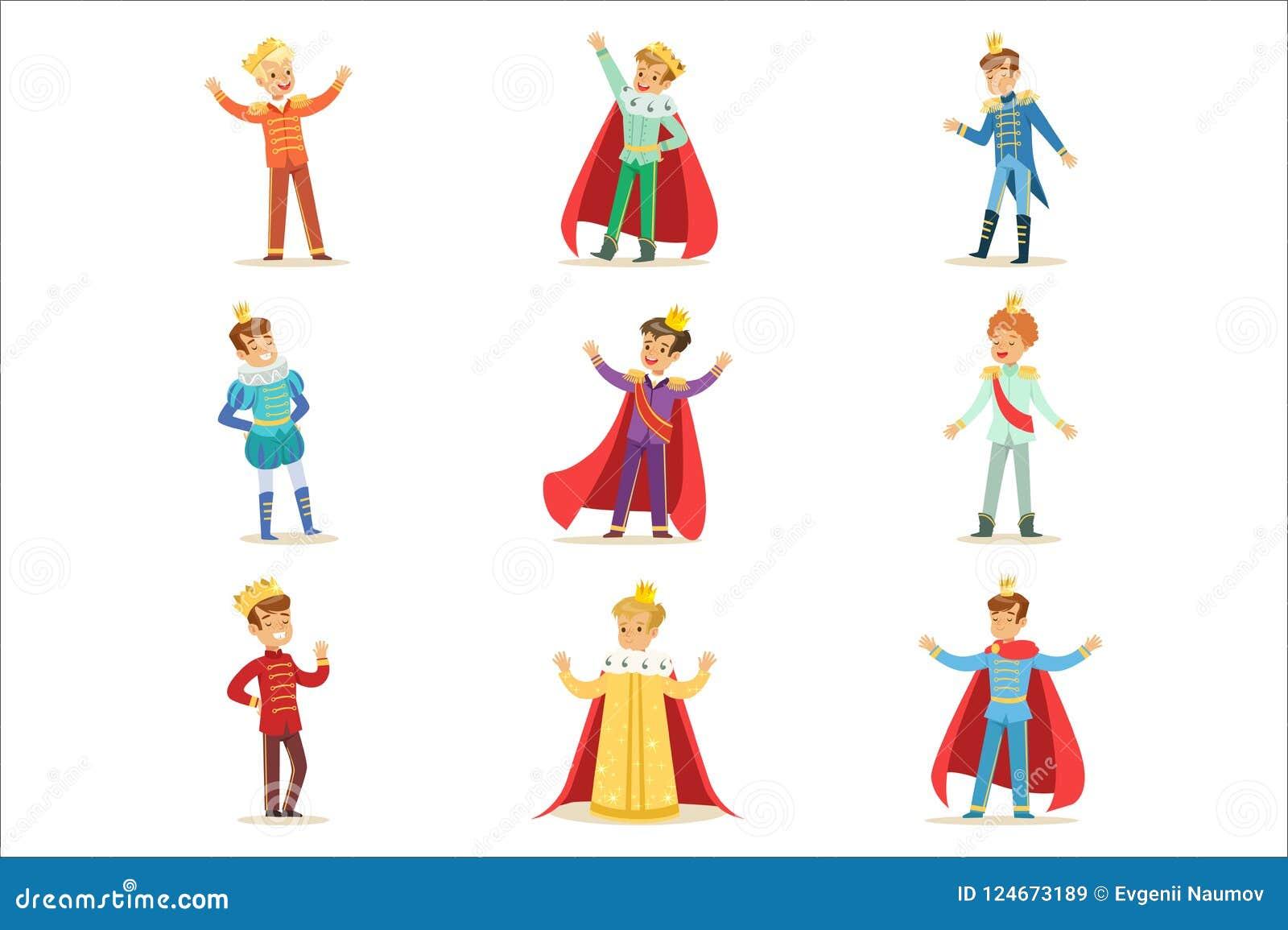 Pyser i prinsen Costume With Crown och ansvaruppsättning av gulliga ungar som kläs som kunglig personillustrationer