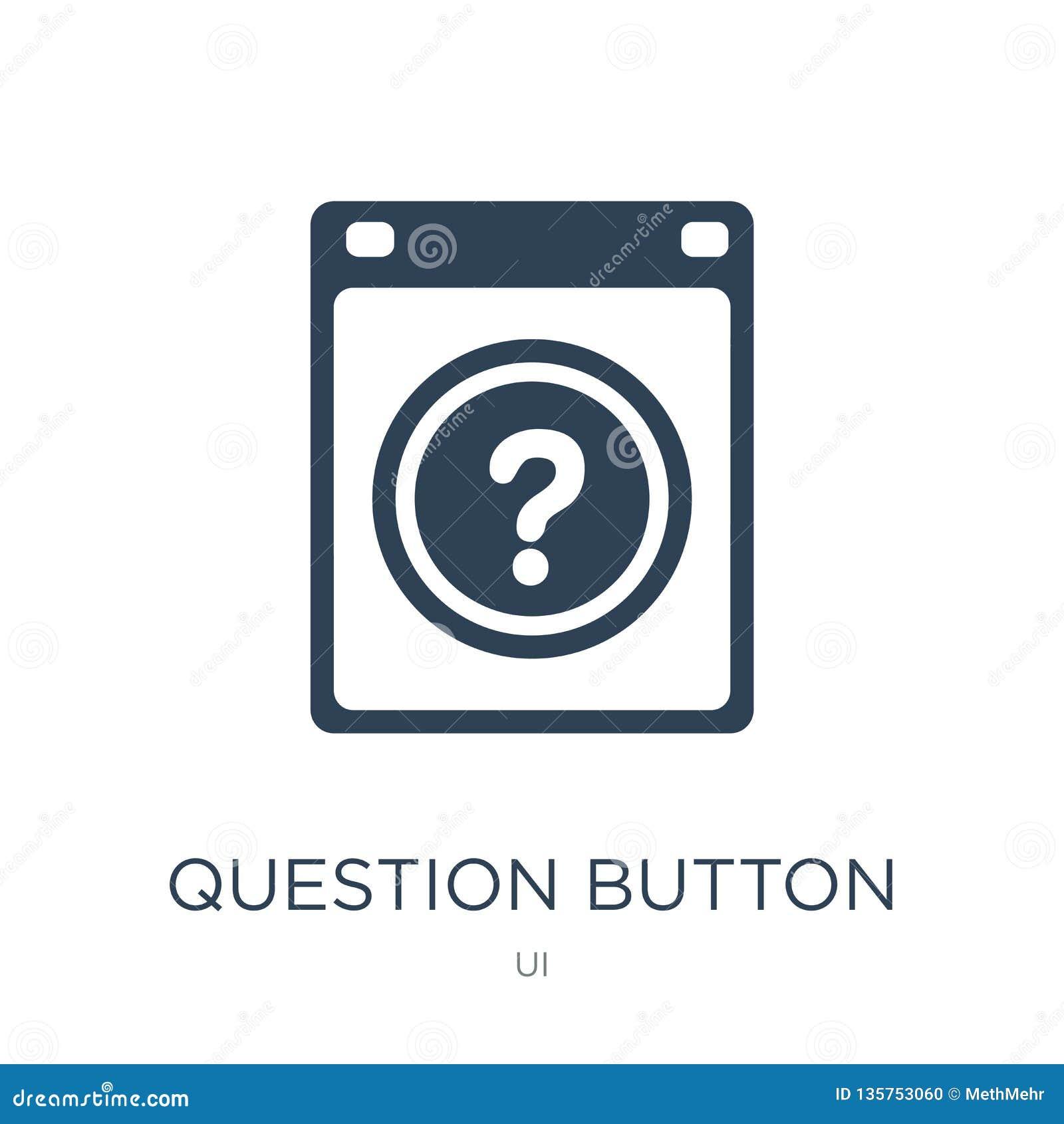 Pytanie guzika ikona w modnym projekta stylu pytanie guzika ikona odizolowywająca na białym tle pytanie guzika wektorowa ikona pr