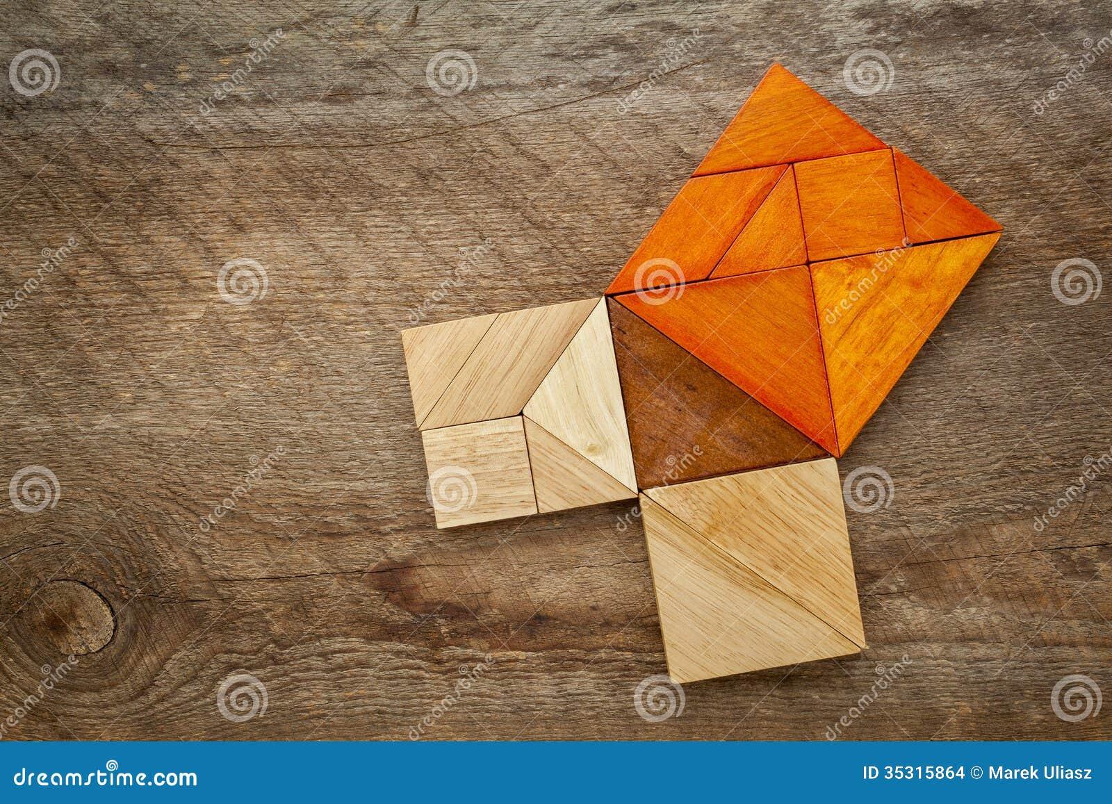 Pythagorean Theorem In Tangram Puzzle Stock Photo Image