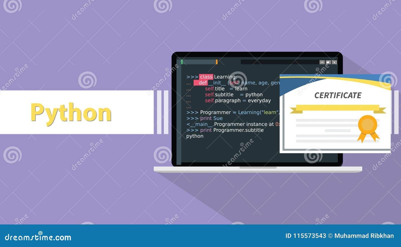 programming certifications python certificate language laptop paper illustration