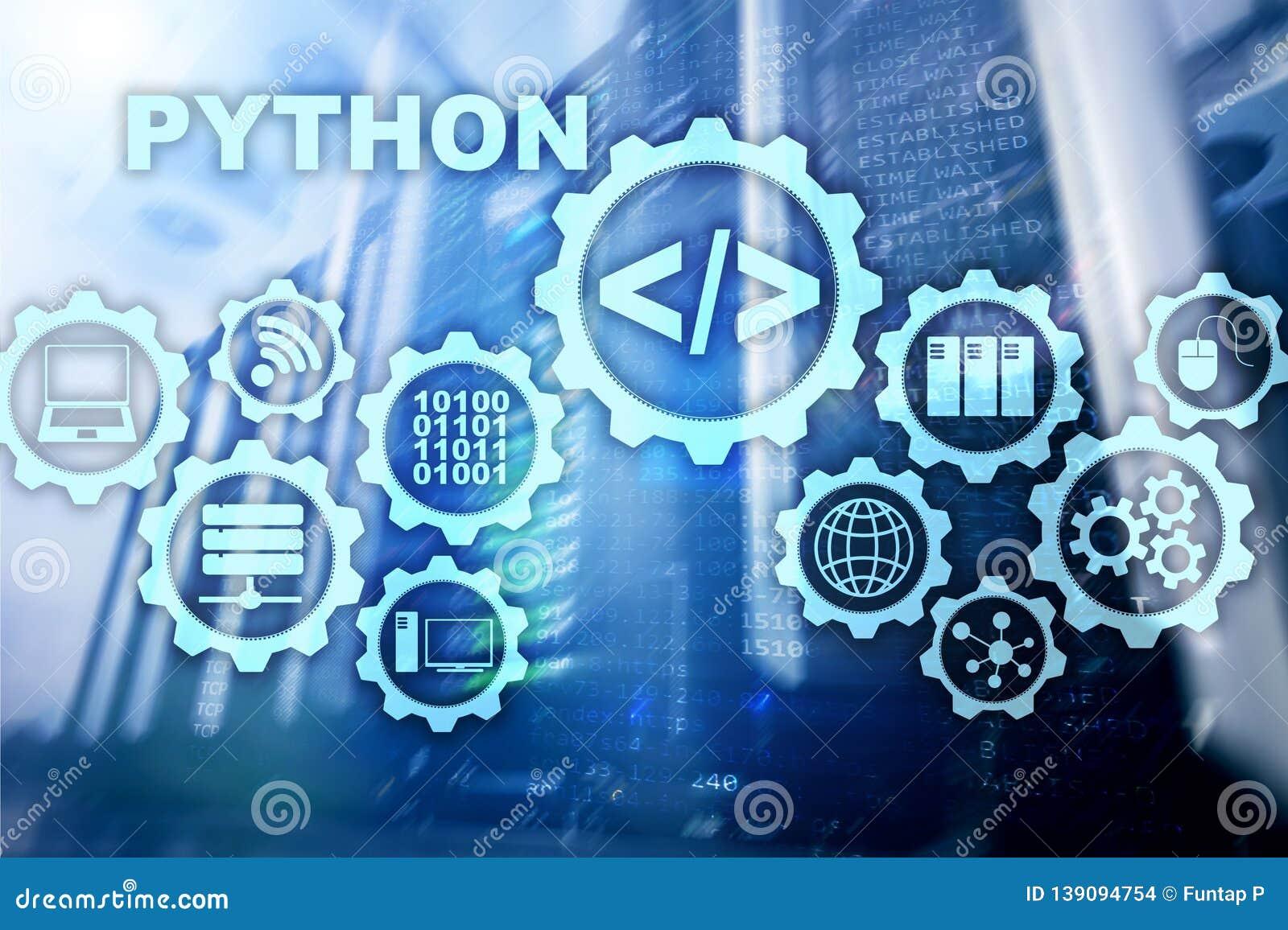 Python Programming Language On Server Room Background