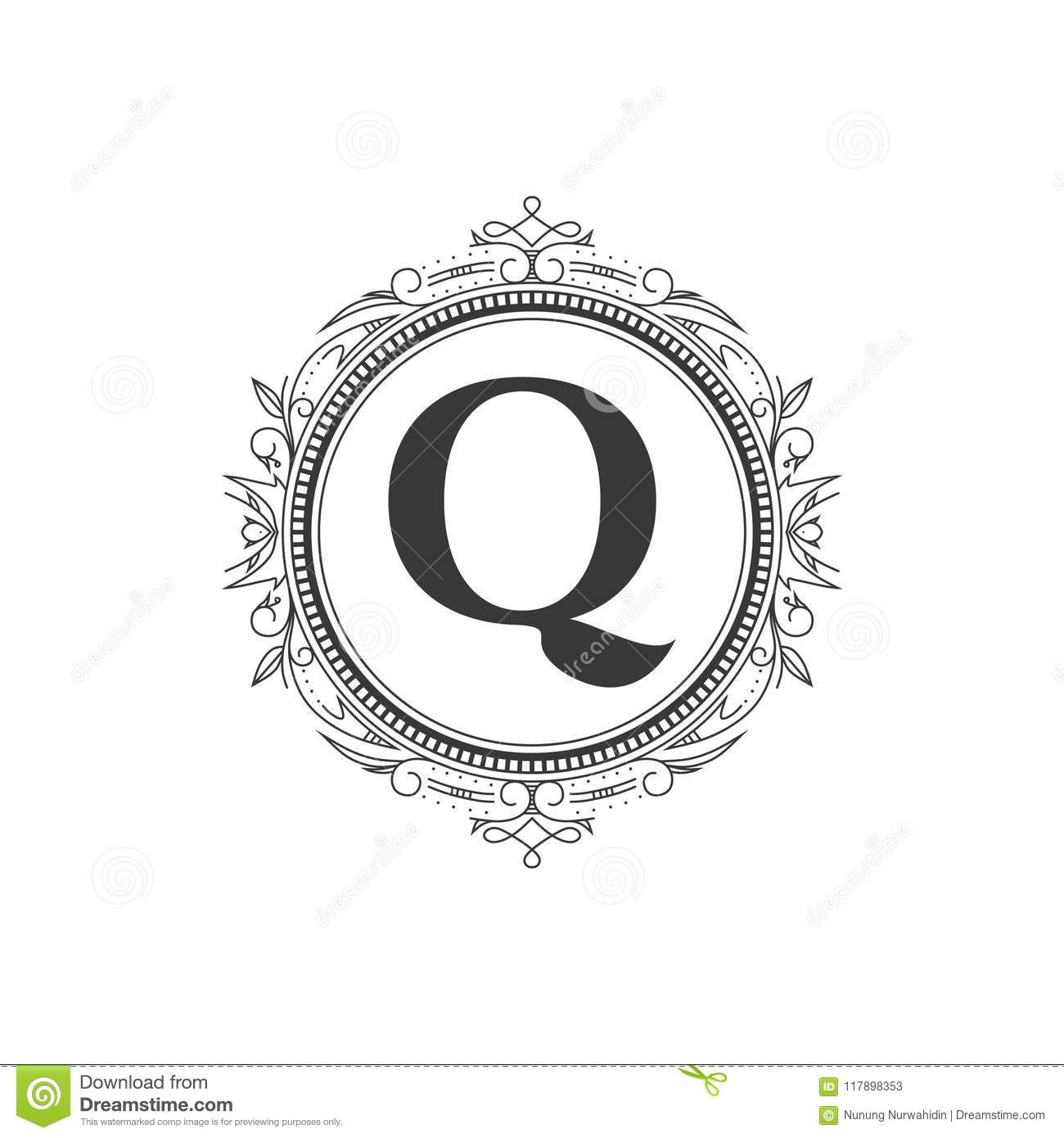 Q Initial Monogram Letter Logo Template With Luxury Ornament