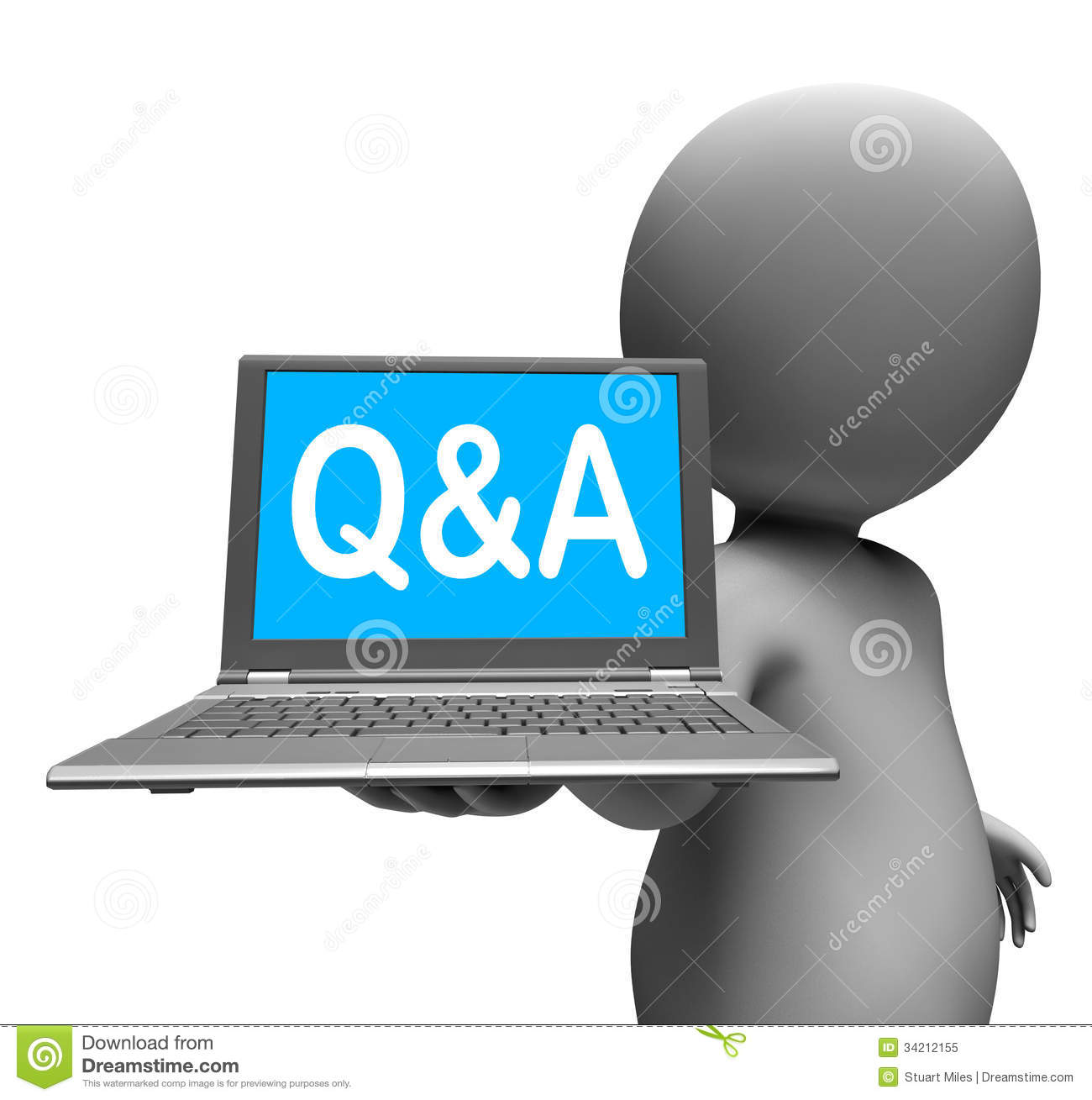Q&a Laptop Character Shows Questions And Answers Stock ...