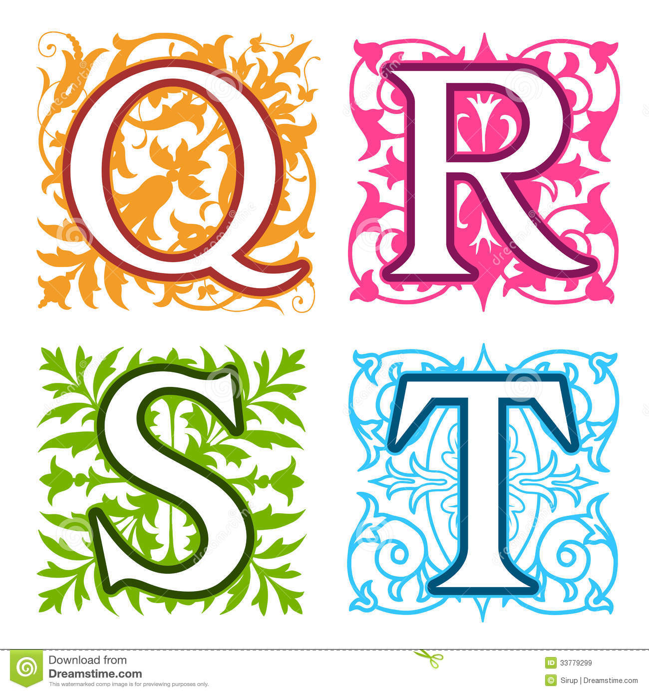 Q R S T Alphabet Letters Floral Elements Stock Vector