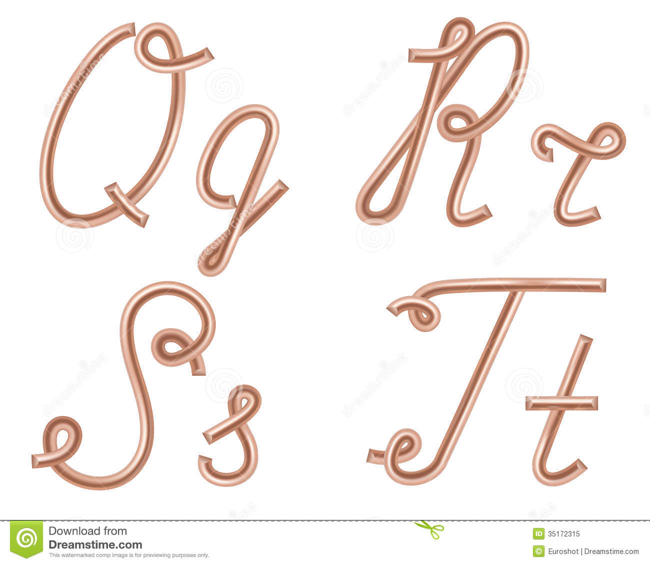 Q, R, S, T Vector Letters Made of Metal Copper Wire.
