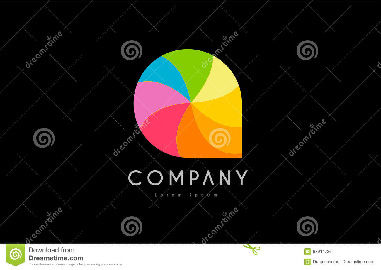Q rainbow colors logo icon alphabet design