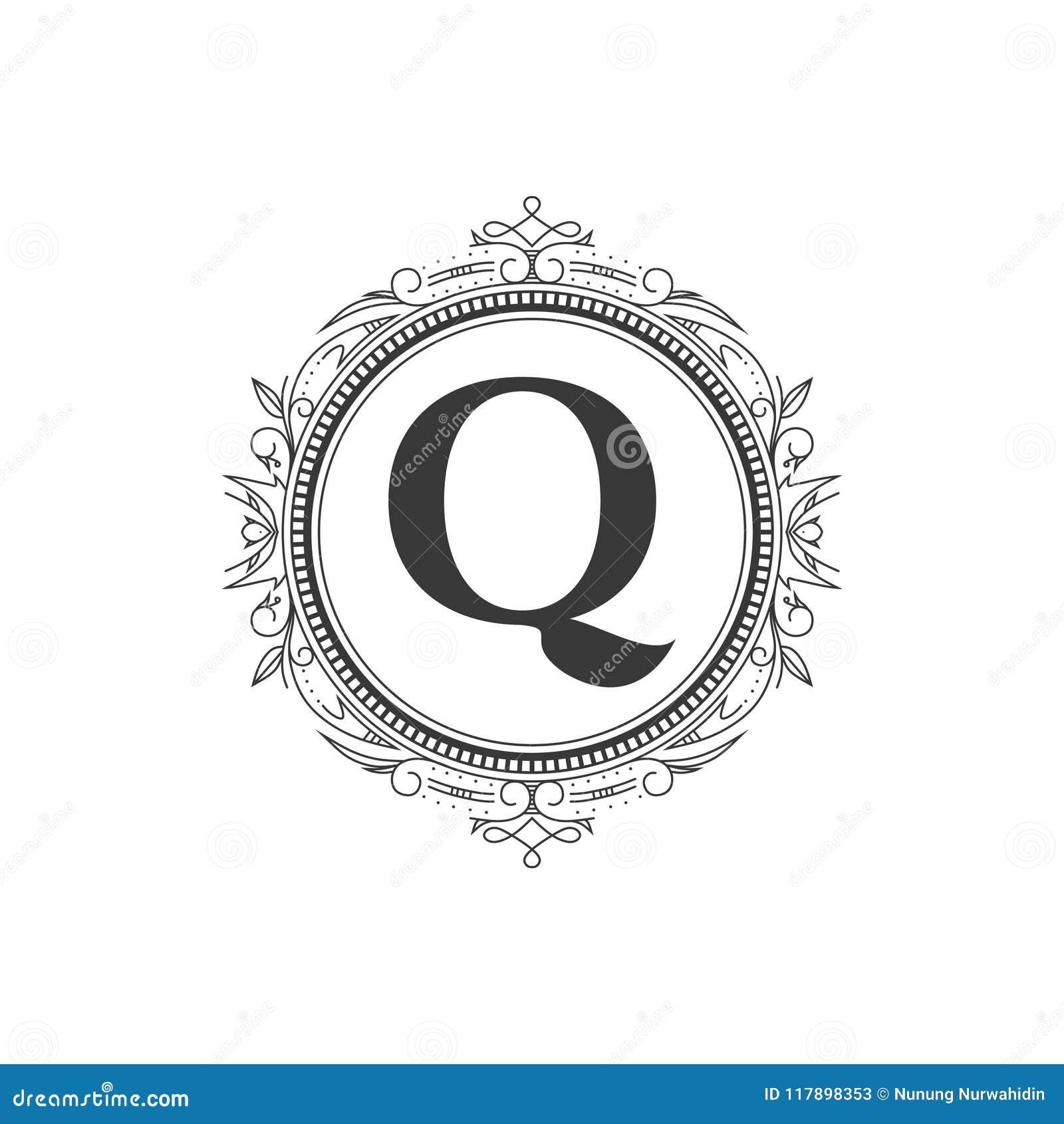 Q Zeichnen Monogrammbuchstabe Logoschablone Mit Luxusverzierung Ab