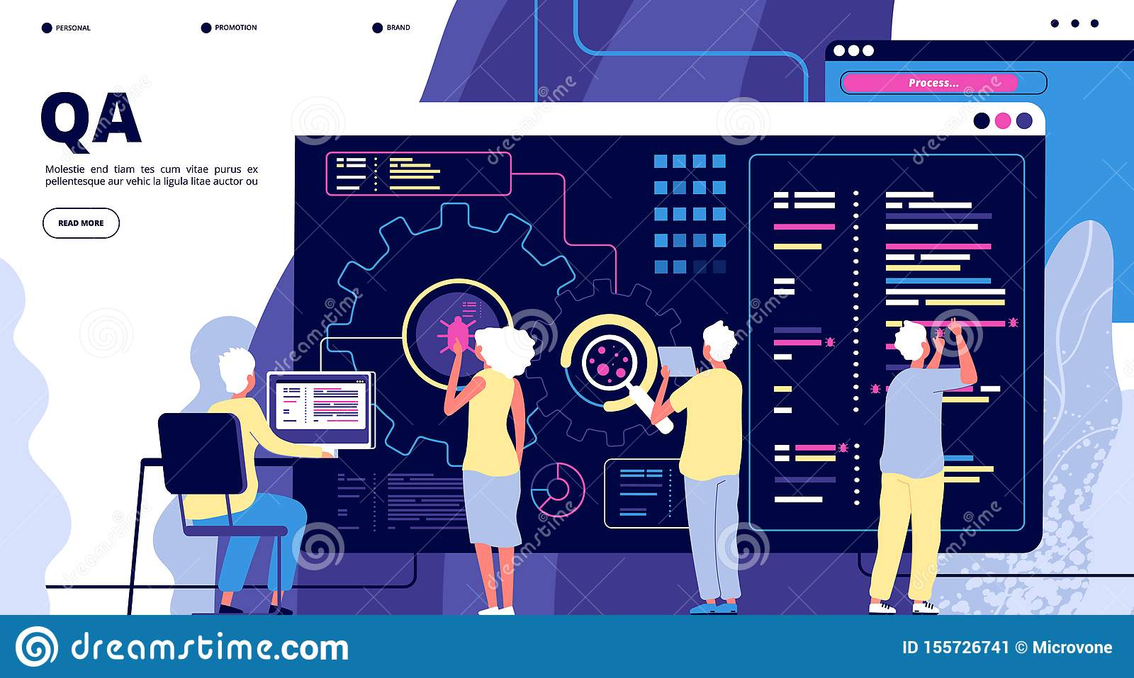Qa Landing Software Testing Quality Assurance People Fixing Bugs In Hardware Device Vector Web Page Design Stock Vector Illustration Of Graphic Monitor 155726741