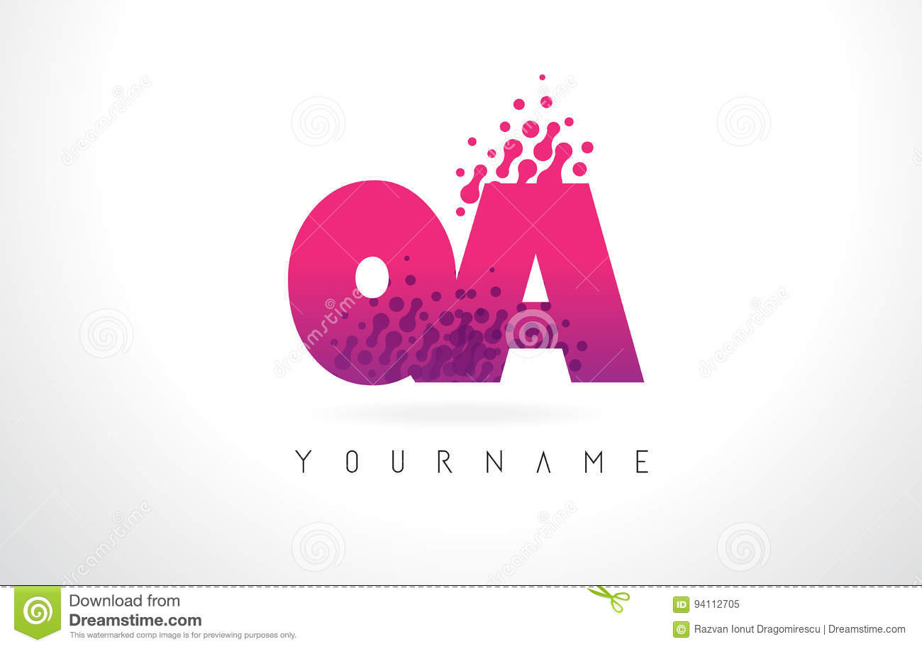 QA Q A Letter Logo With Pink Purple Color And Particles Dots Des ...
