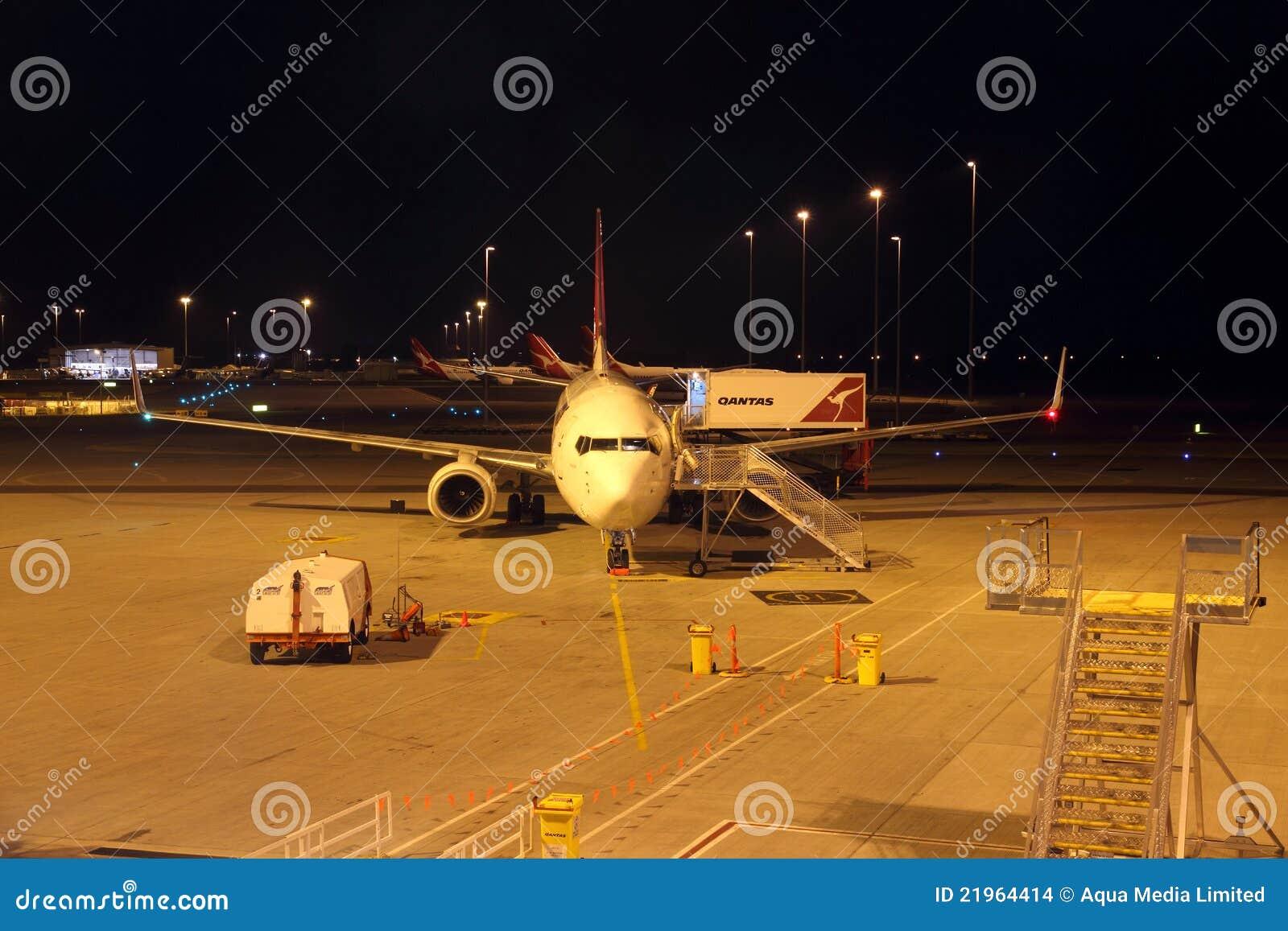 Qantas Airbus A330 Aircraft At Night Editorial Stock Image ...