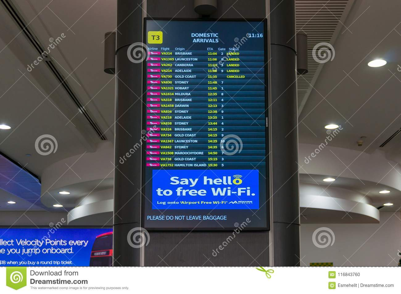 Qantas Airline Domestic Arrivals Information Board In