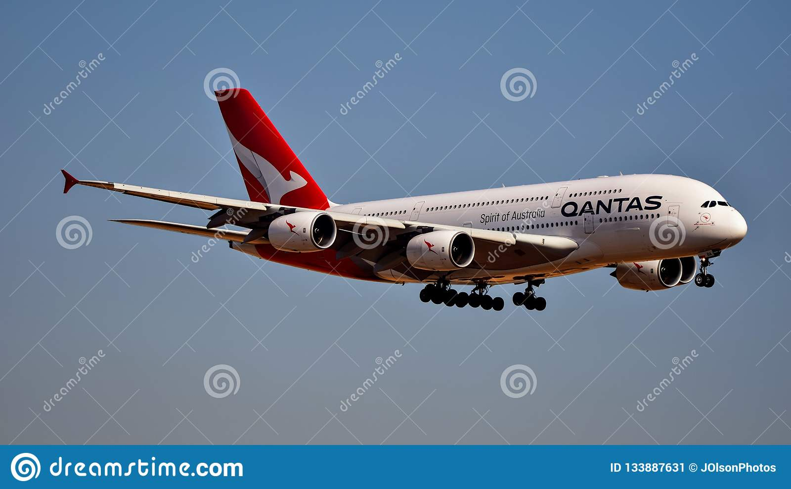 Qantas Airlines Airbus A380 Coming In For A Landing