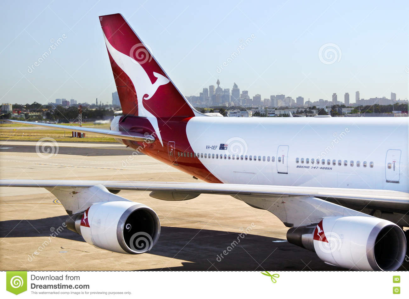 Qantas Airways Jet Plane At Sydney Airport Sydney, Australia