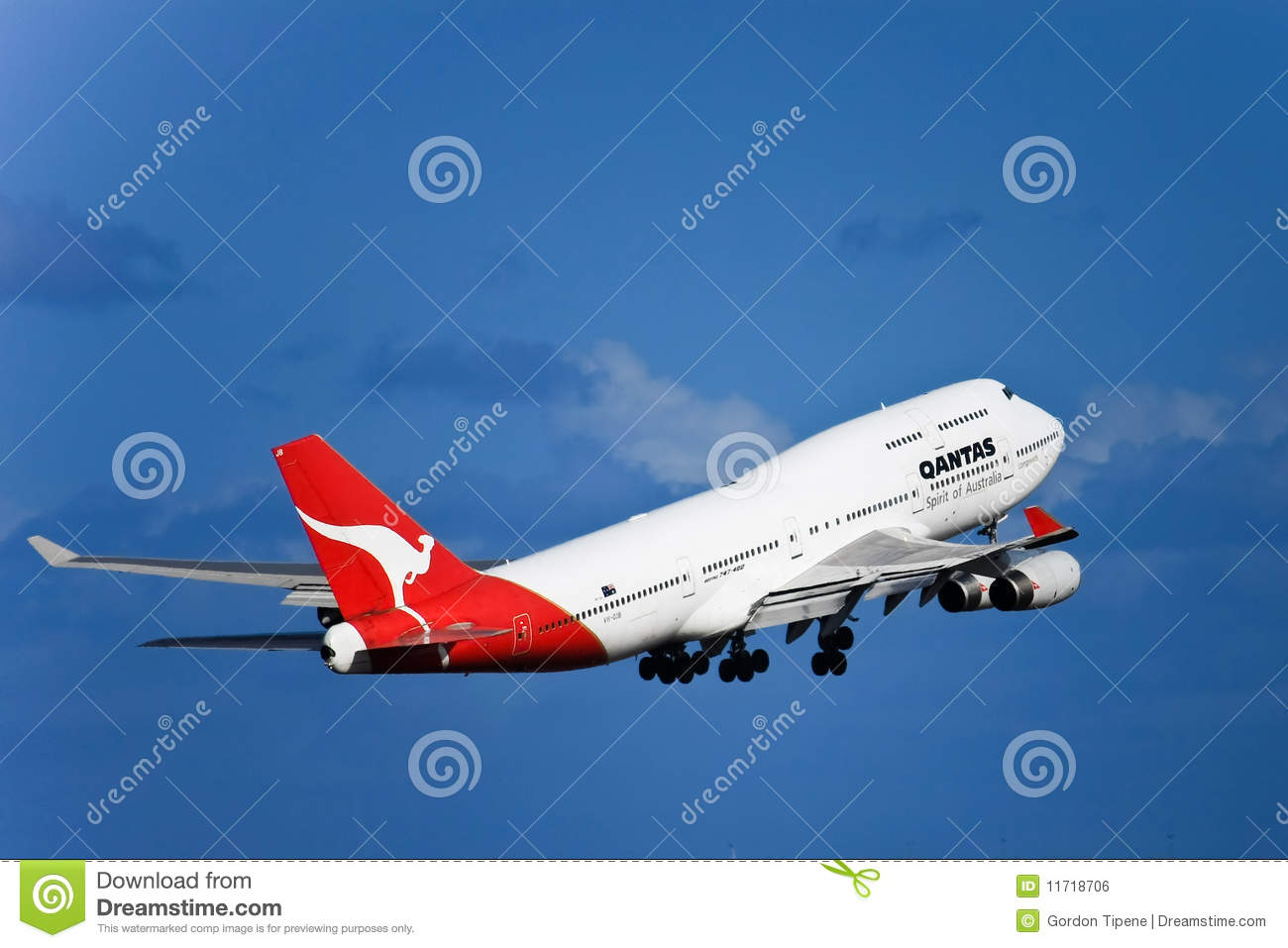 Qantas Boeing 747 Jet In Flight With Landing Gear Editorial Photo  Image 1