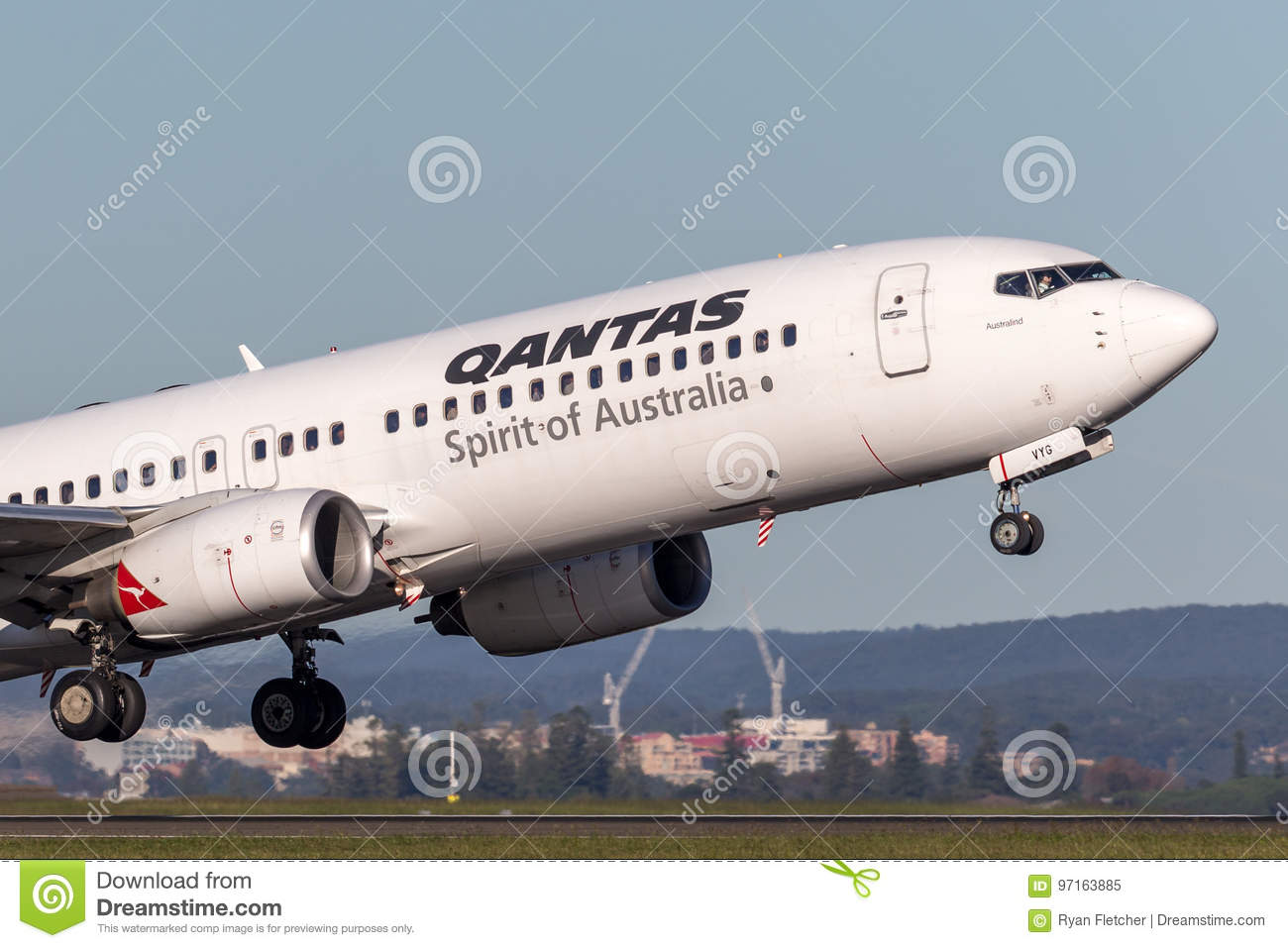 Qantas Boeing 737-800 Aircraft Taking Off From Sydney