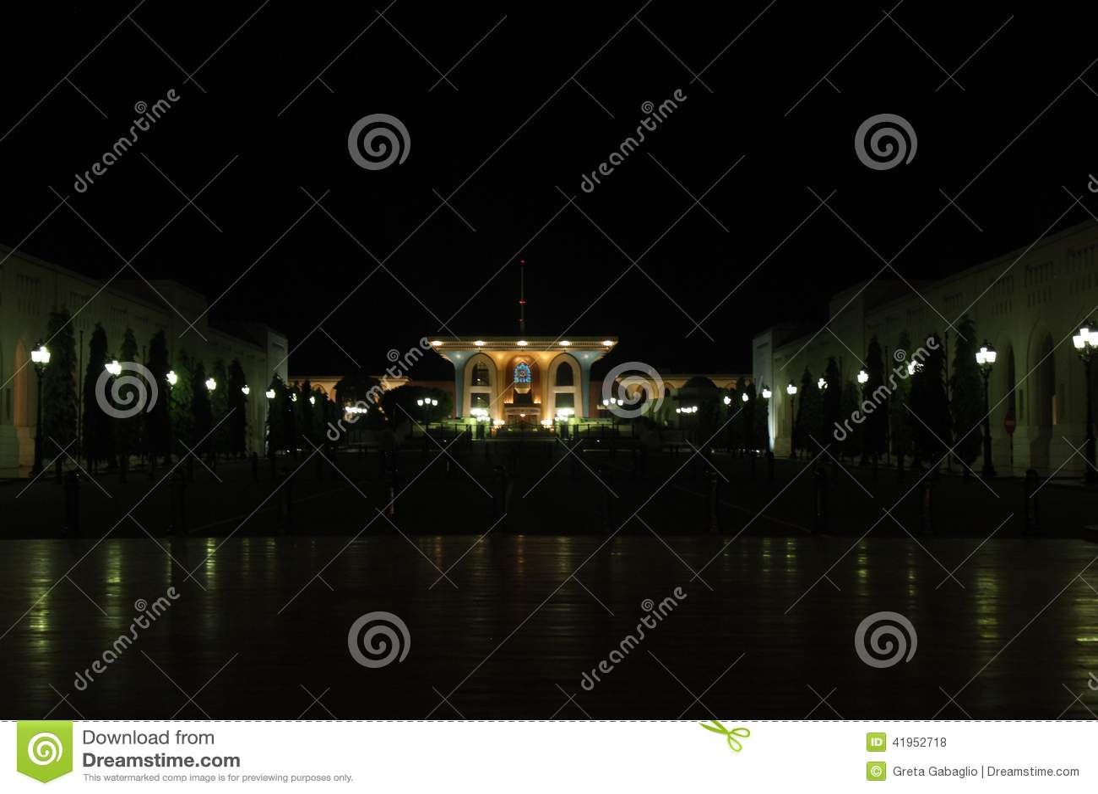 Qasr Al Alam Royal Palace nocą, muszkat