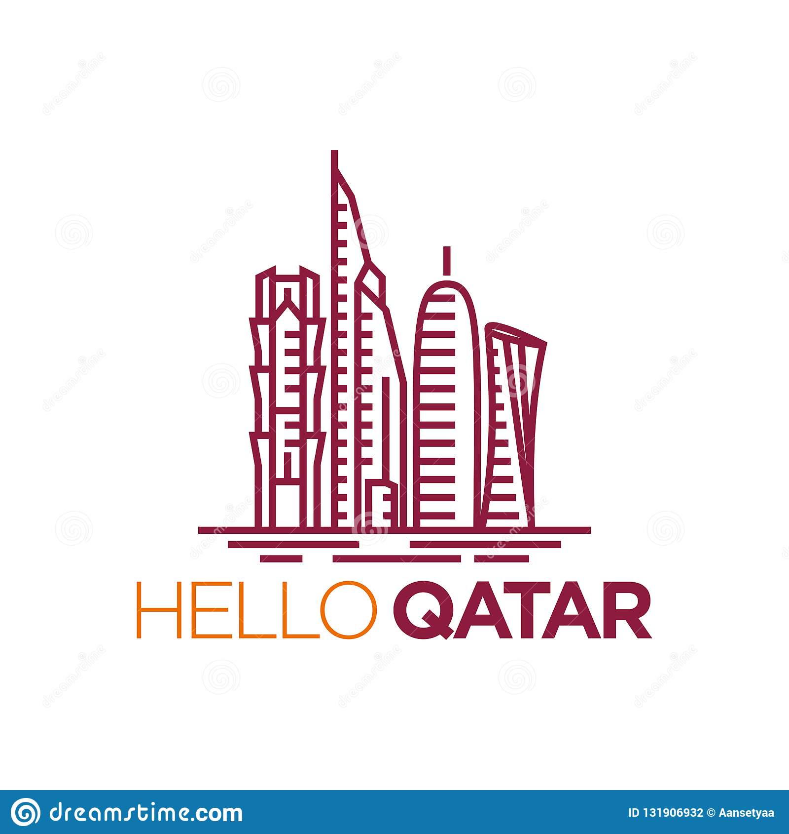 Qatar City Tower Logo Design Inspiration Qatar Tower Vector Stock Vector Illustration Of Vector Architecture 131906932