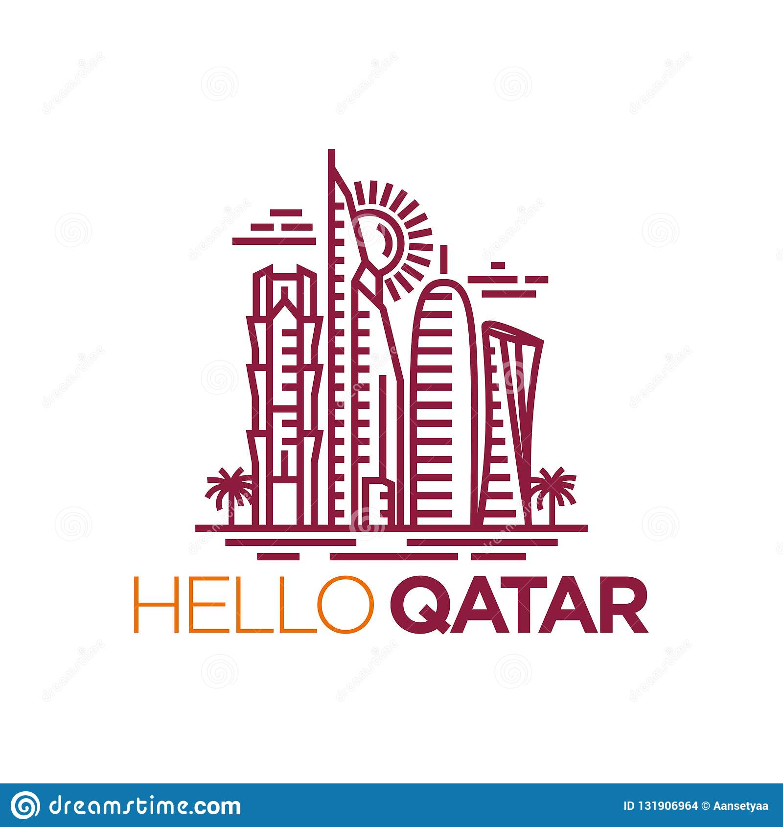 Qatar City Tower Logo Design Inspiration Qatar Tower Vector Stock Vector Illustration Of Arabia Financial 131906964