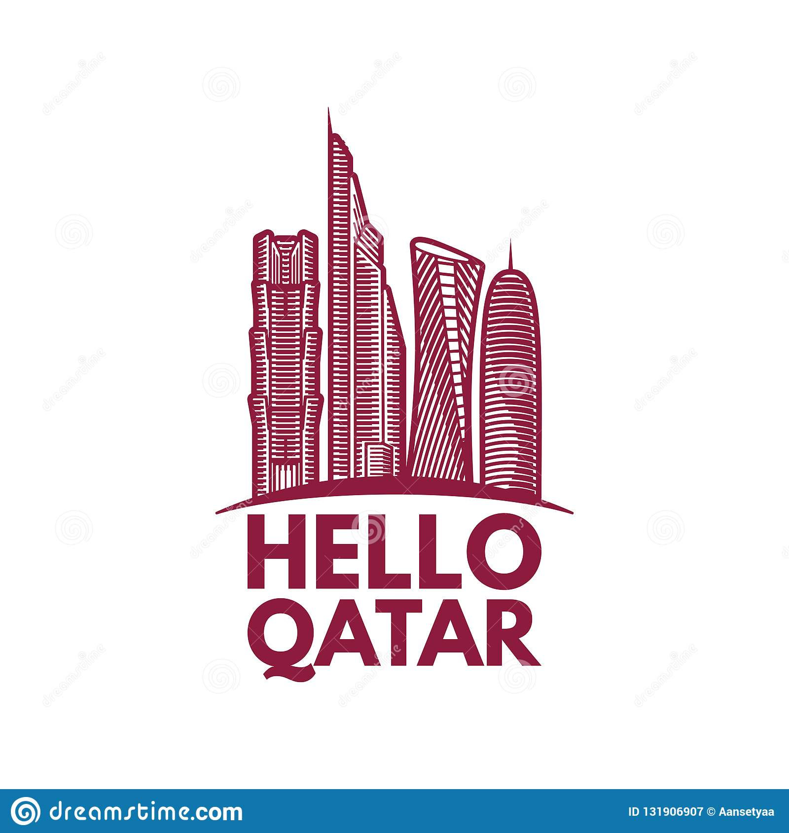 Qatar City Tower Logo Design Inspiration, Qatar Tower Vector