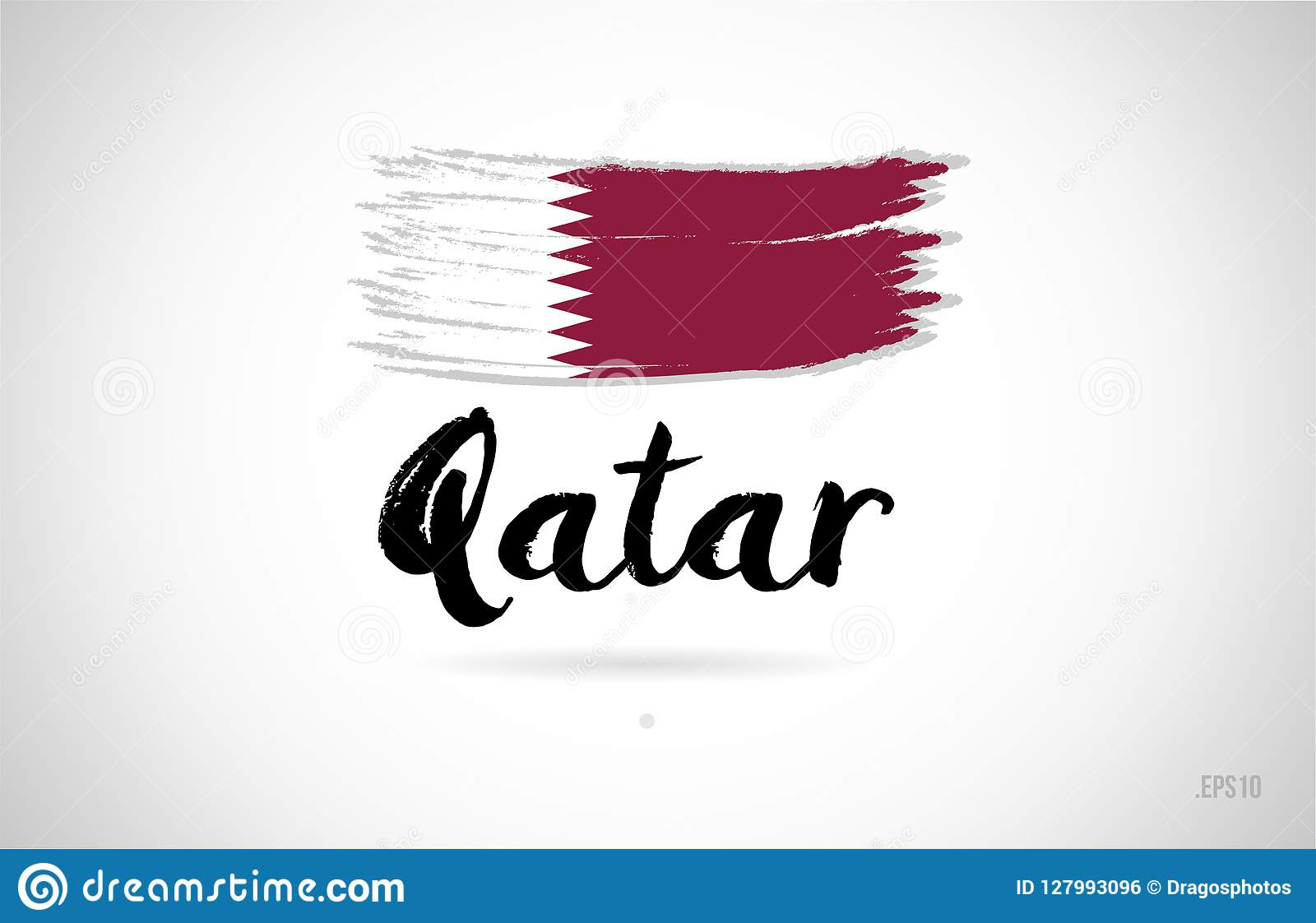 Qatar Country Flag Concept With Grunge Design Icon Logo