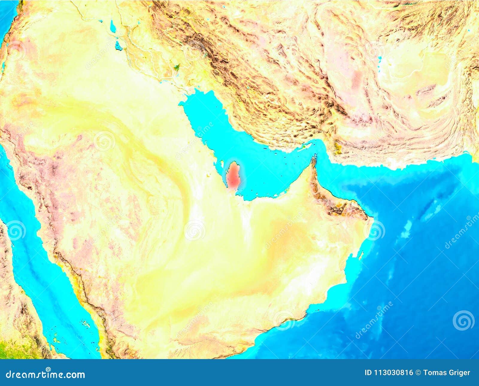 Qatar en rojo en la tierra
