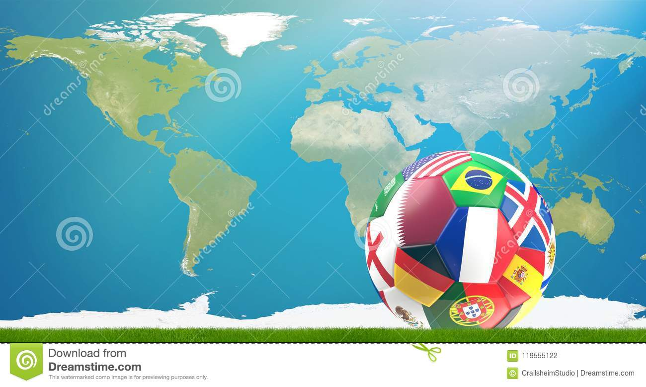 Qatar flag soccer ball 3d illustration with world map elements download qatar flag soccer ball 3d illustration with world map elements stock illustration publicscrutiny Image collections