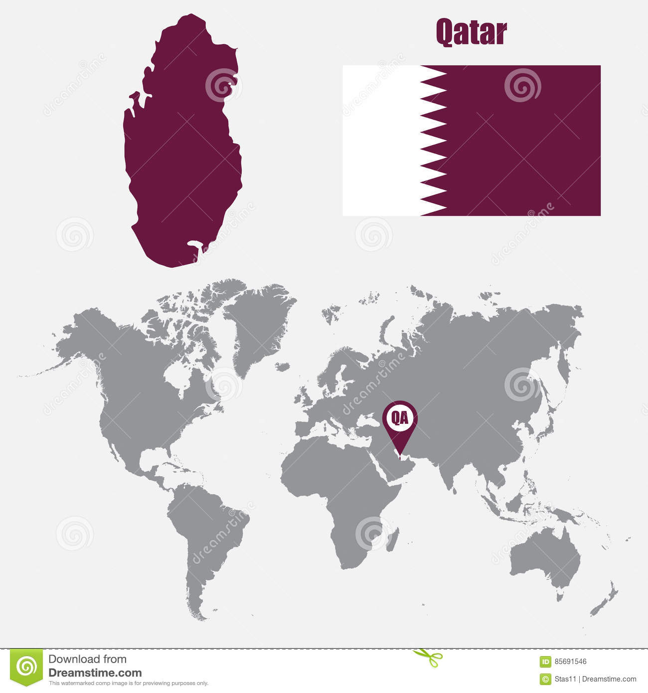 Qatar Map On A World Map With Flag And Map Pointer Vector