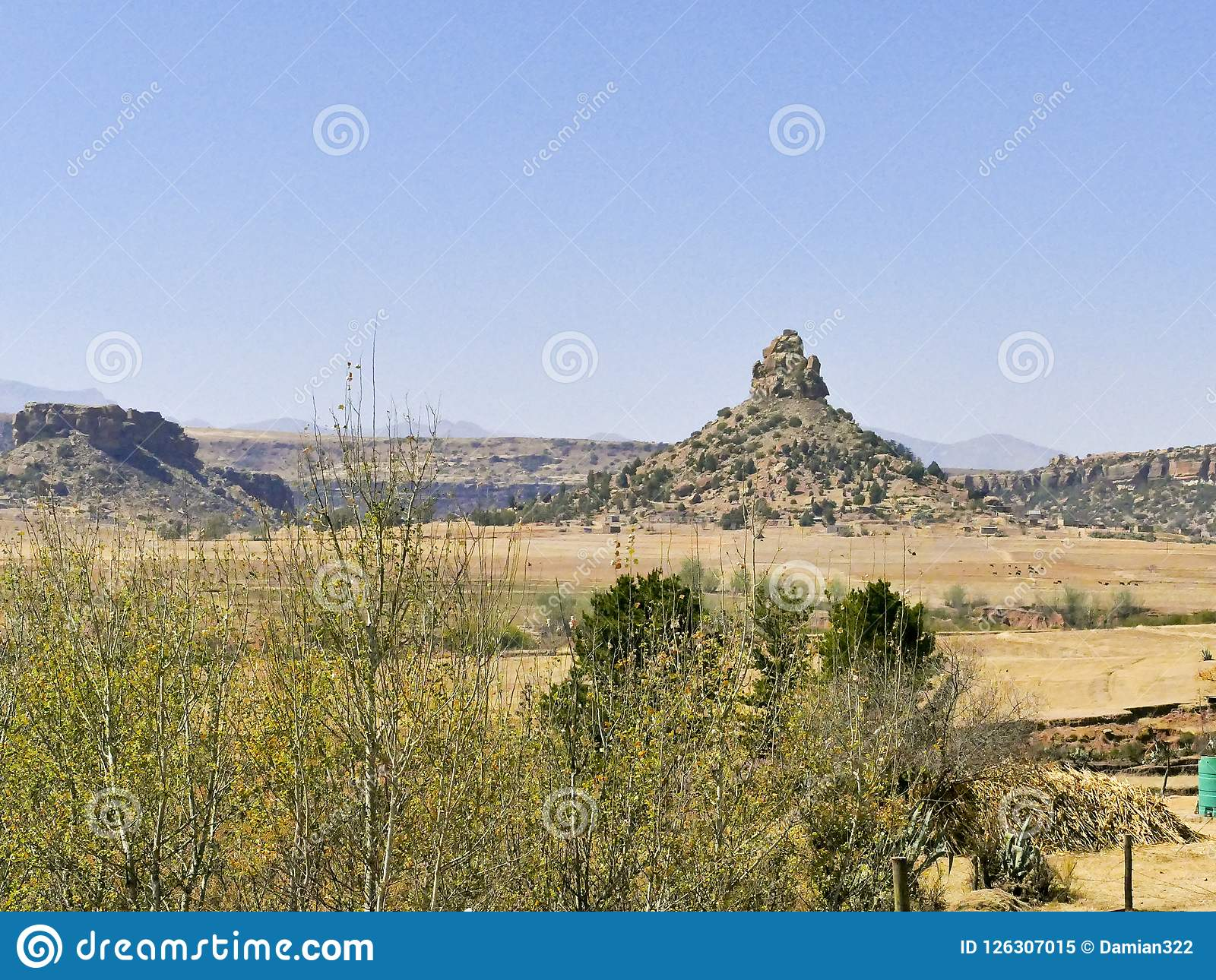 Qiloane ett berg i Lesotho bredvid Thaba Bosiu