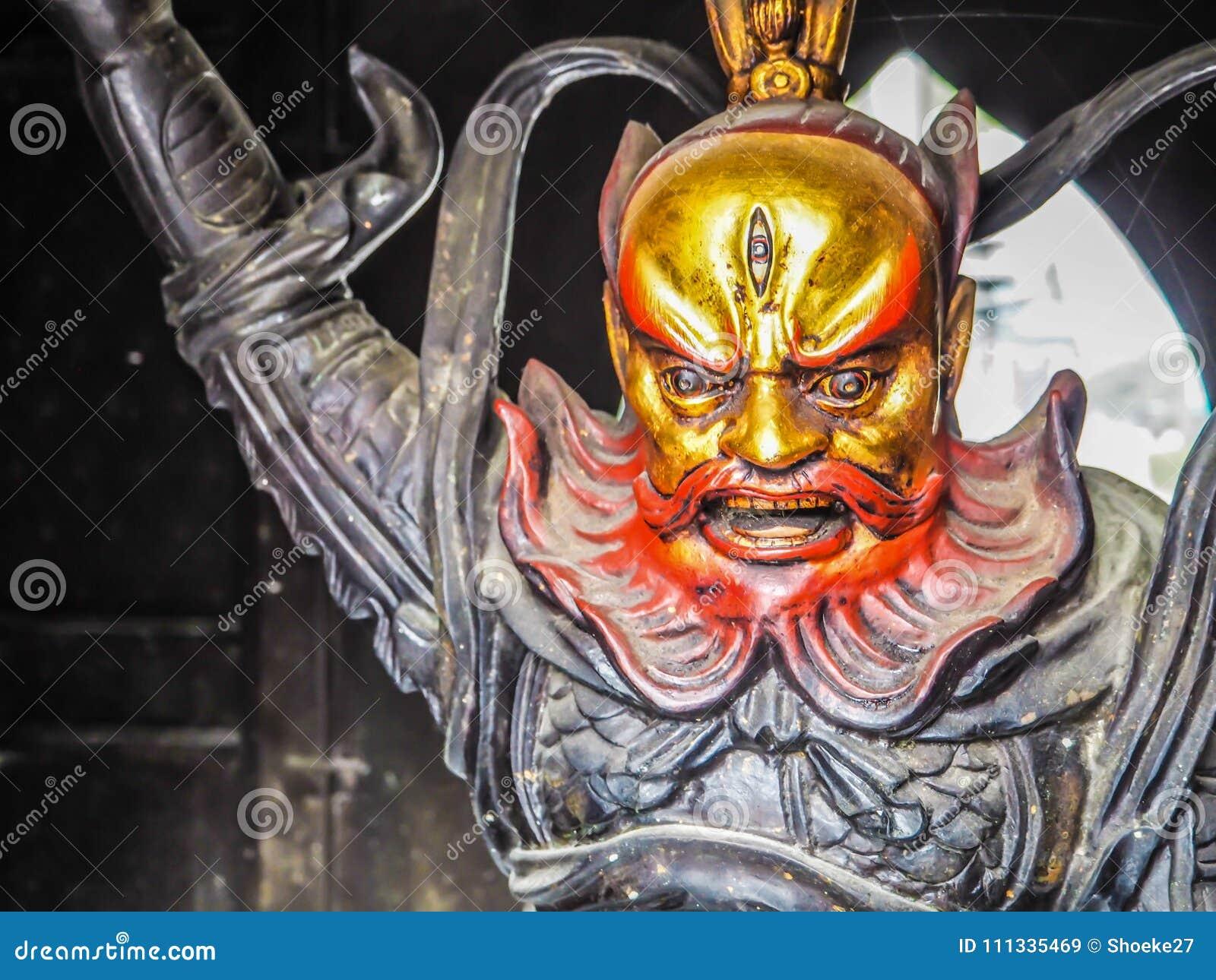 Qingdao Chiny, Grudzień, - 2017: Zamyka up wojownik rzeźba