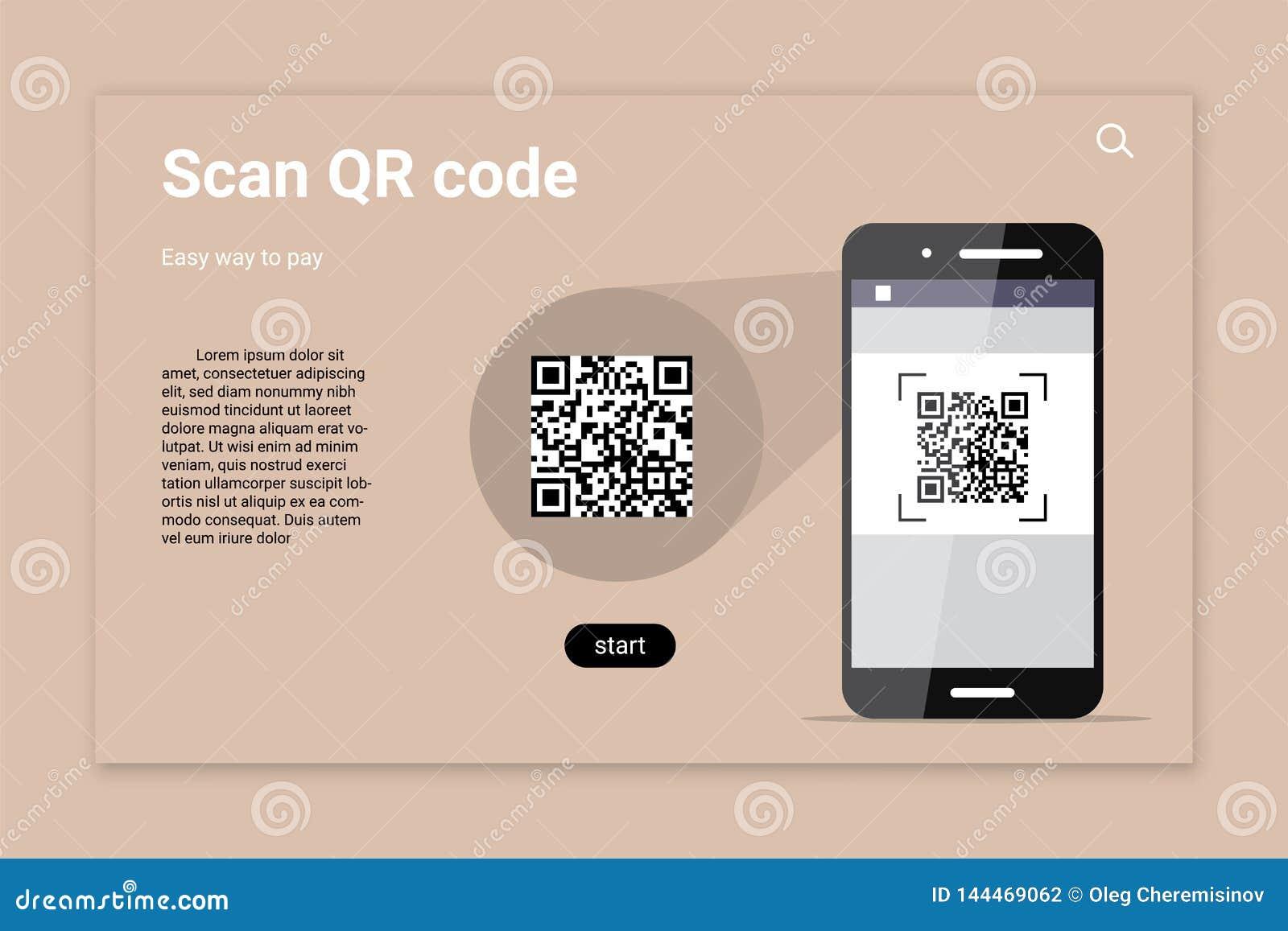 QR代码扫描颜色传染媒介着陆页模板