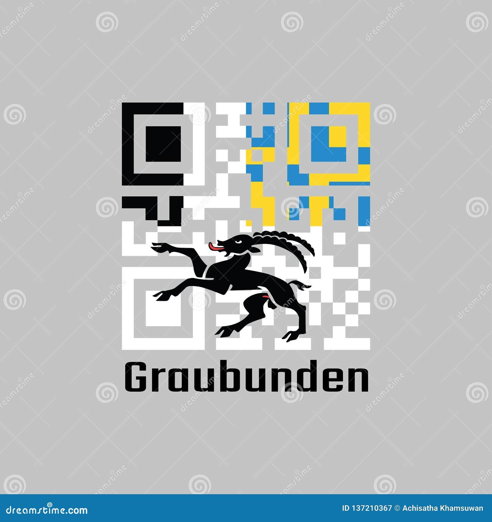 QR代码组颜色graubunden旗子,瑞士的小行政区